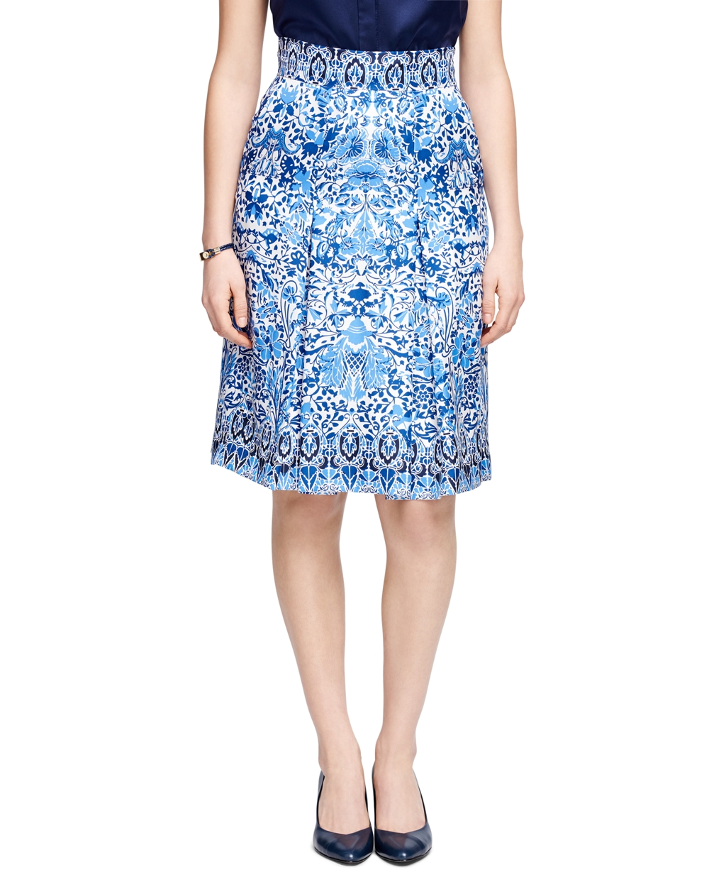brothers silk printed skirt in blue lyst