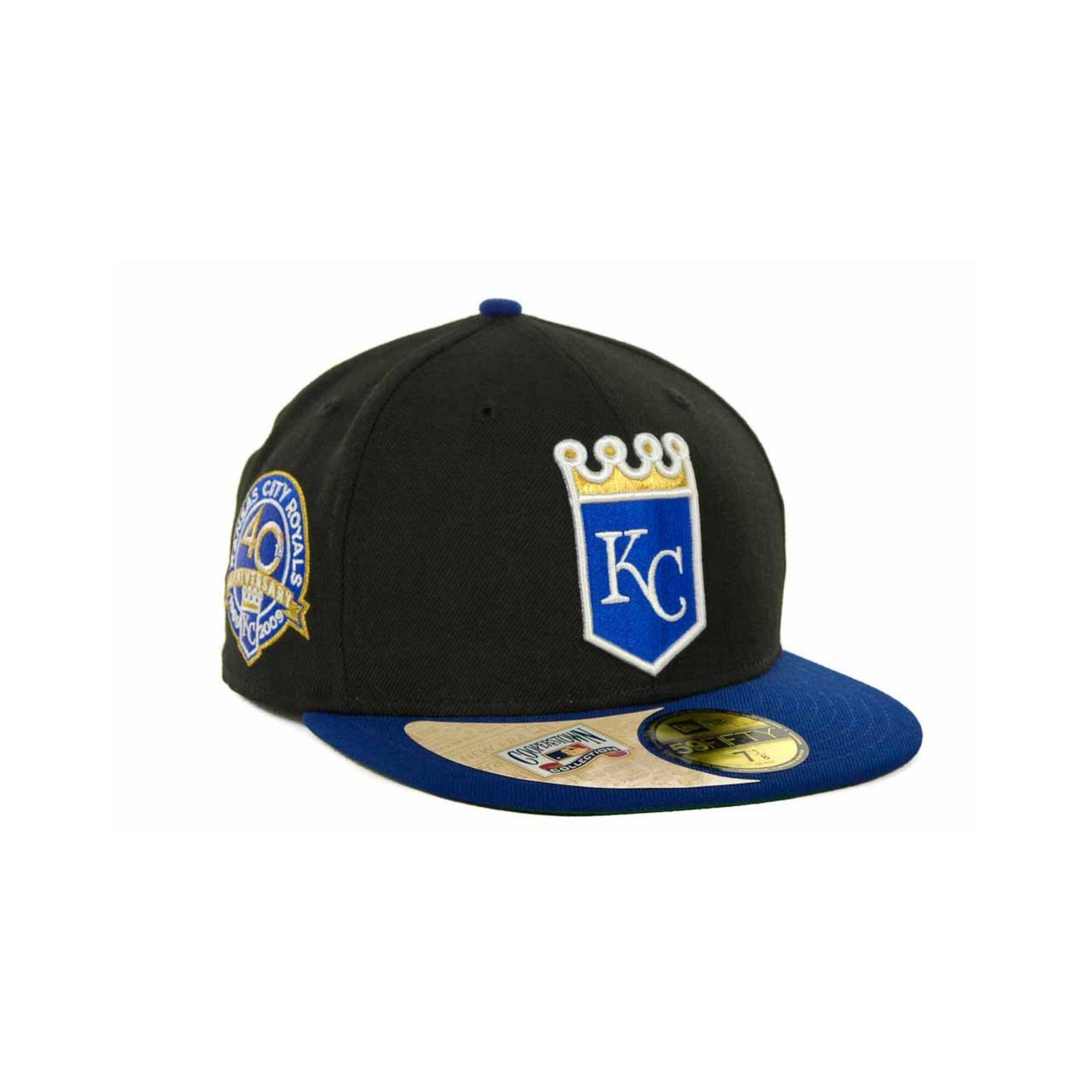 ... sale lyst ktz kansas city royals cooperstown patch 59fifty cap in black  4299d b8386 8628eb4034a6