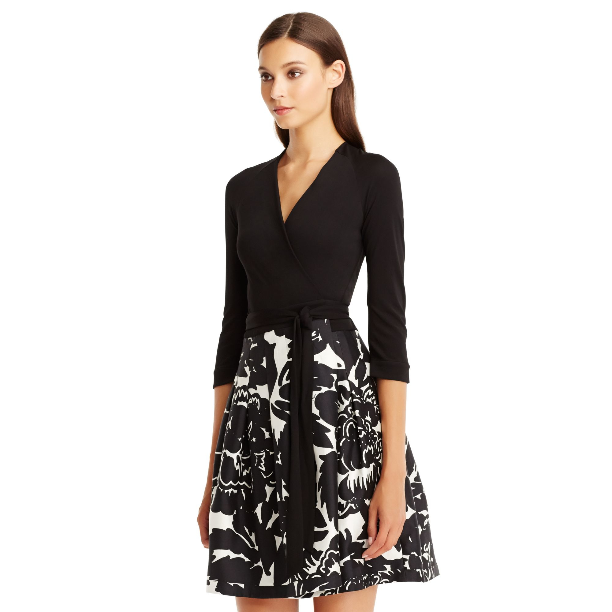 Diane von furstenberg dvf jewel silk combo wrap dress in for Diane von furstenberg clothes