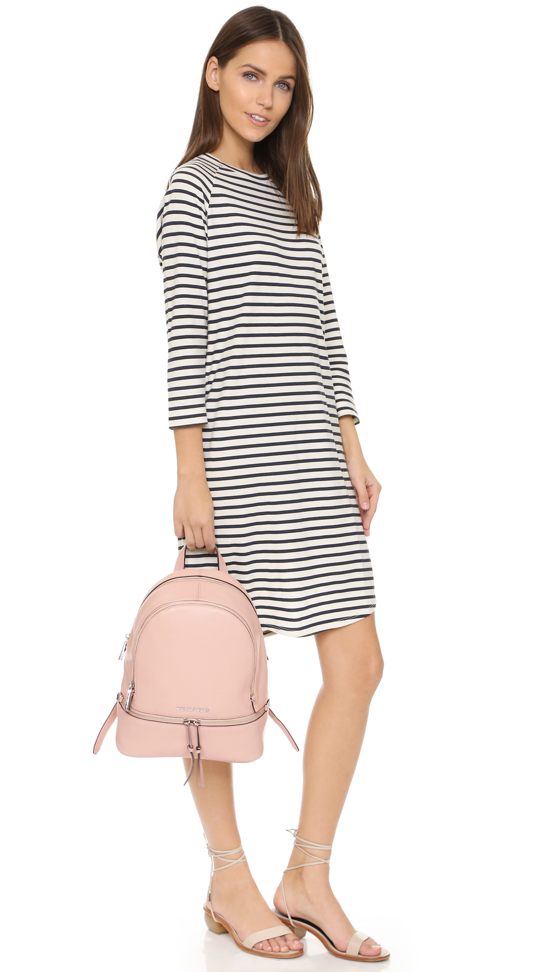 28eec527672 ... best lyst michael michael kors rhea small backpack ballet in pink 8bbba  6191f
