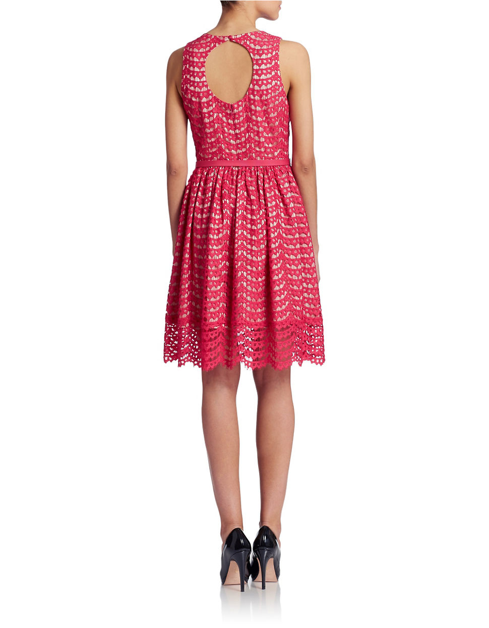 eliza j belted lace fit and flare dress in pink lyst
