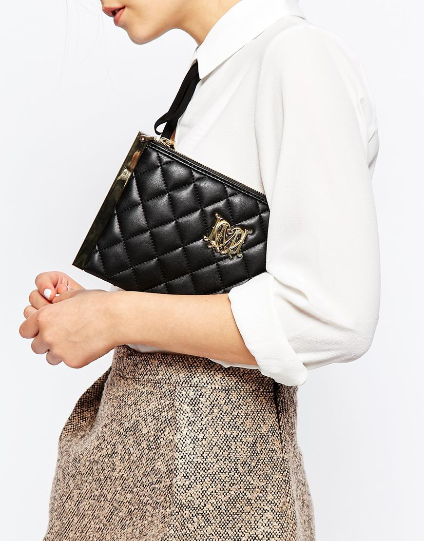 b47b40956577 Lyst - Love Moschino Quilted Clutch Bag With Optional Chain Strap in Black