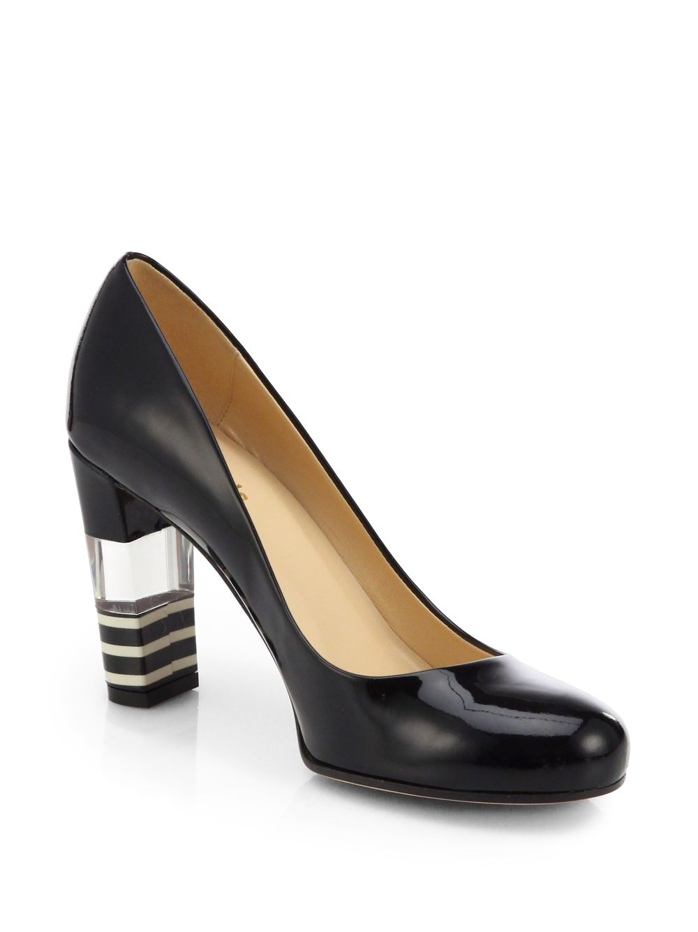 Lyst - Kate Spade Leslie Patent Leather Lucite-Heel Pumps Black in Black