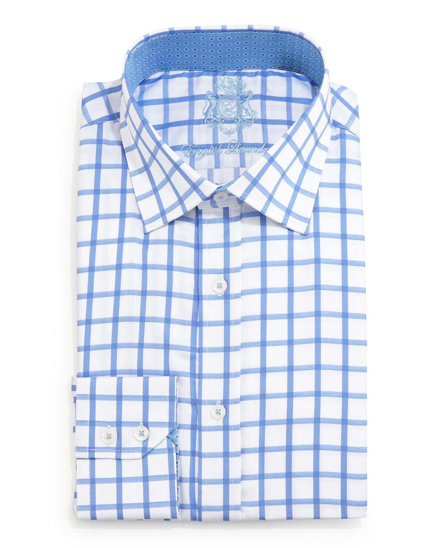 english laundry large windowpane check dress shirt in blue