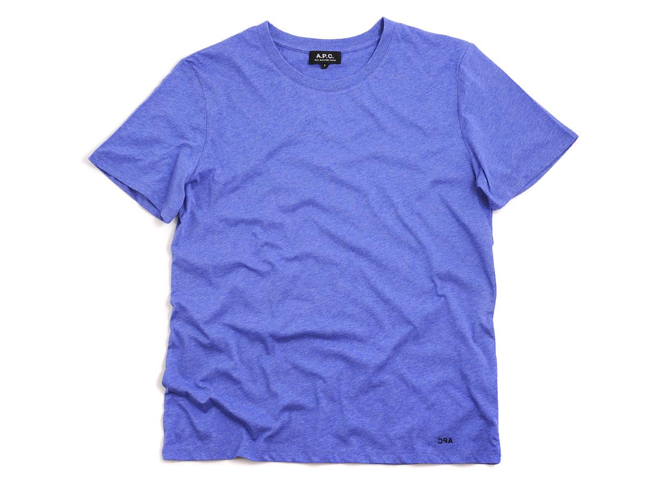 a p c logo tshirt indigo in blue for men indigo lyst