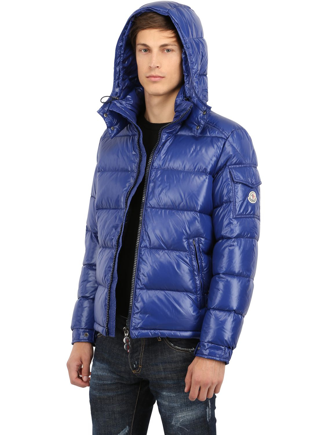 moncler maya shiny nylon down jacket in blue for men lyst. Black Bedroom Furniture Sets. Home Design Ideas