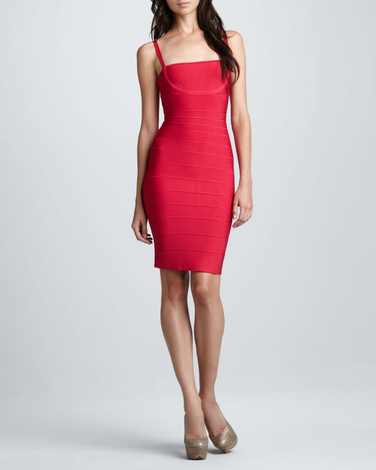 7870be29907f Lyst - Hervé Léger Womens Sleeveless Squareneck Bandage Dress in Red