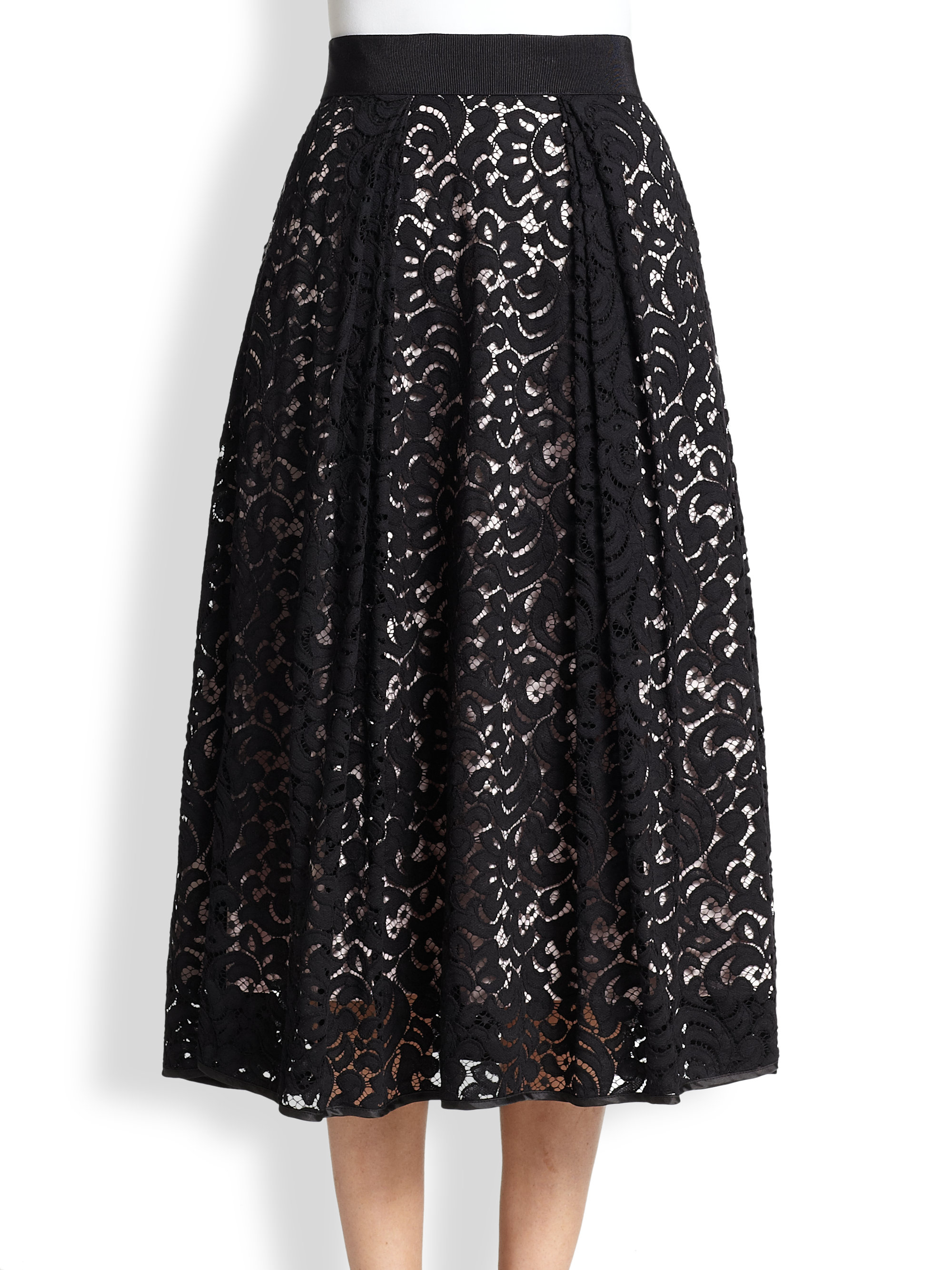 milly lace midi skirt in black black blus lyst