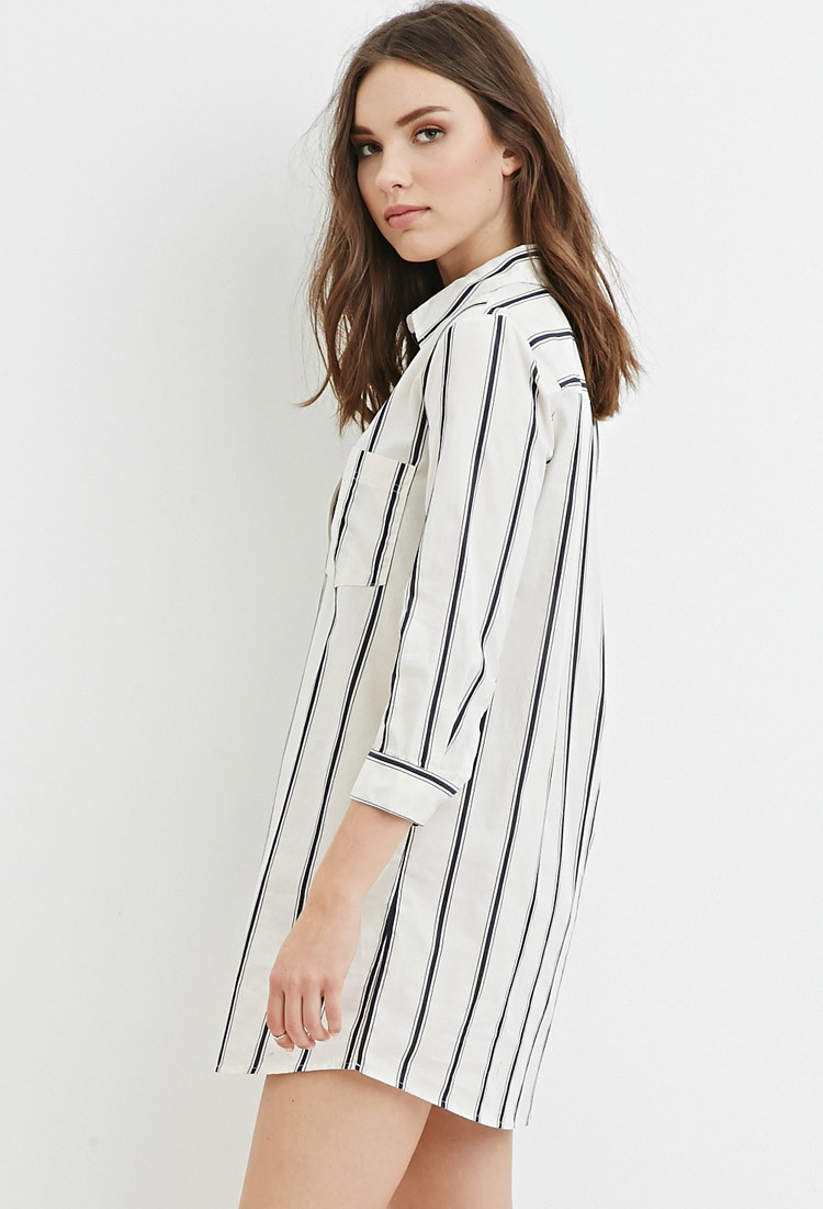 14bae40fa6a Lyst - Forever 21 Striped Shirt Dress in Natural