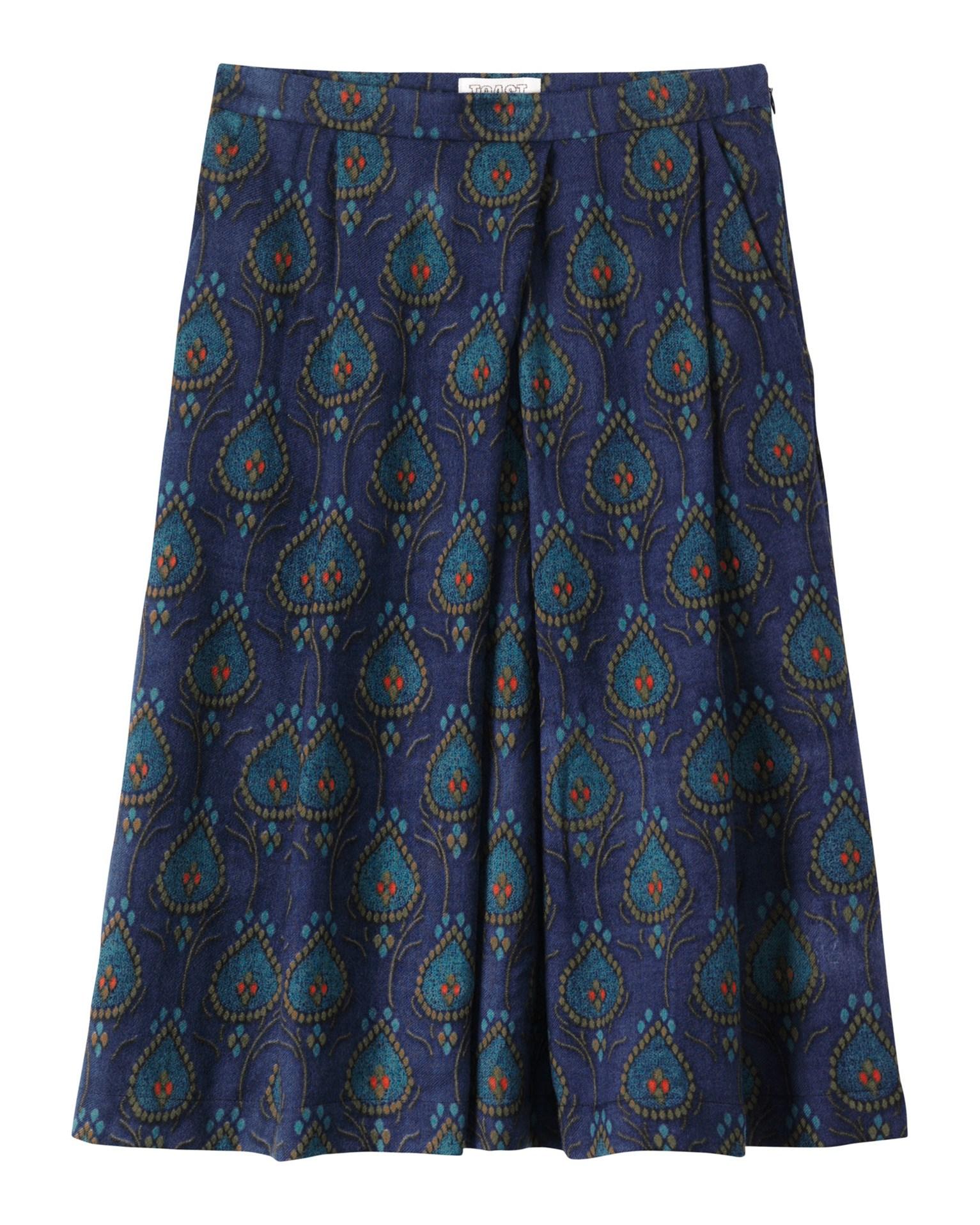 toast block print skirt in blue midnight olive kingfisher