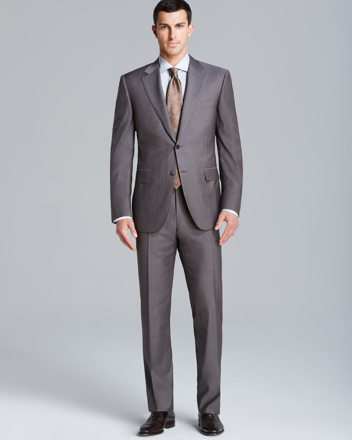Canali Siena Solid Travel Suit Regular Fit In Brown For