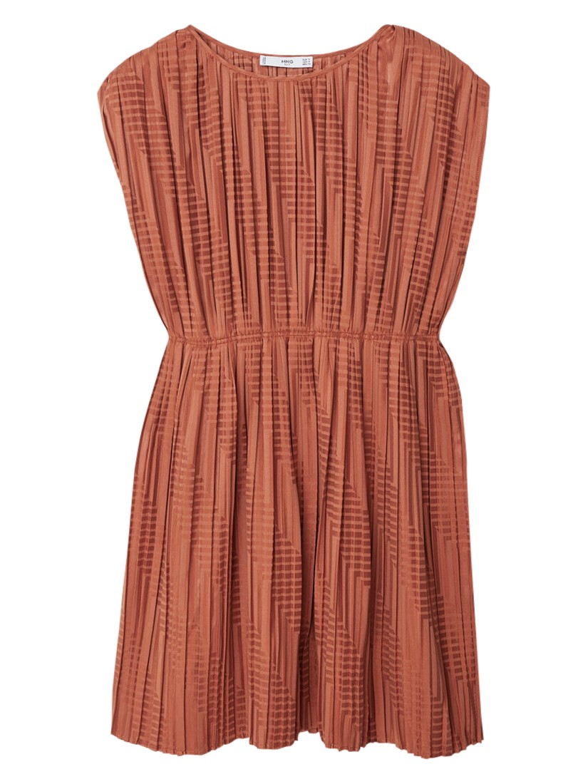 0e3af7725e Mango Pleated Dress in Brown - Lyst
