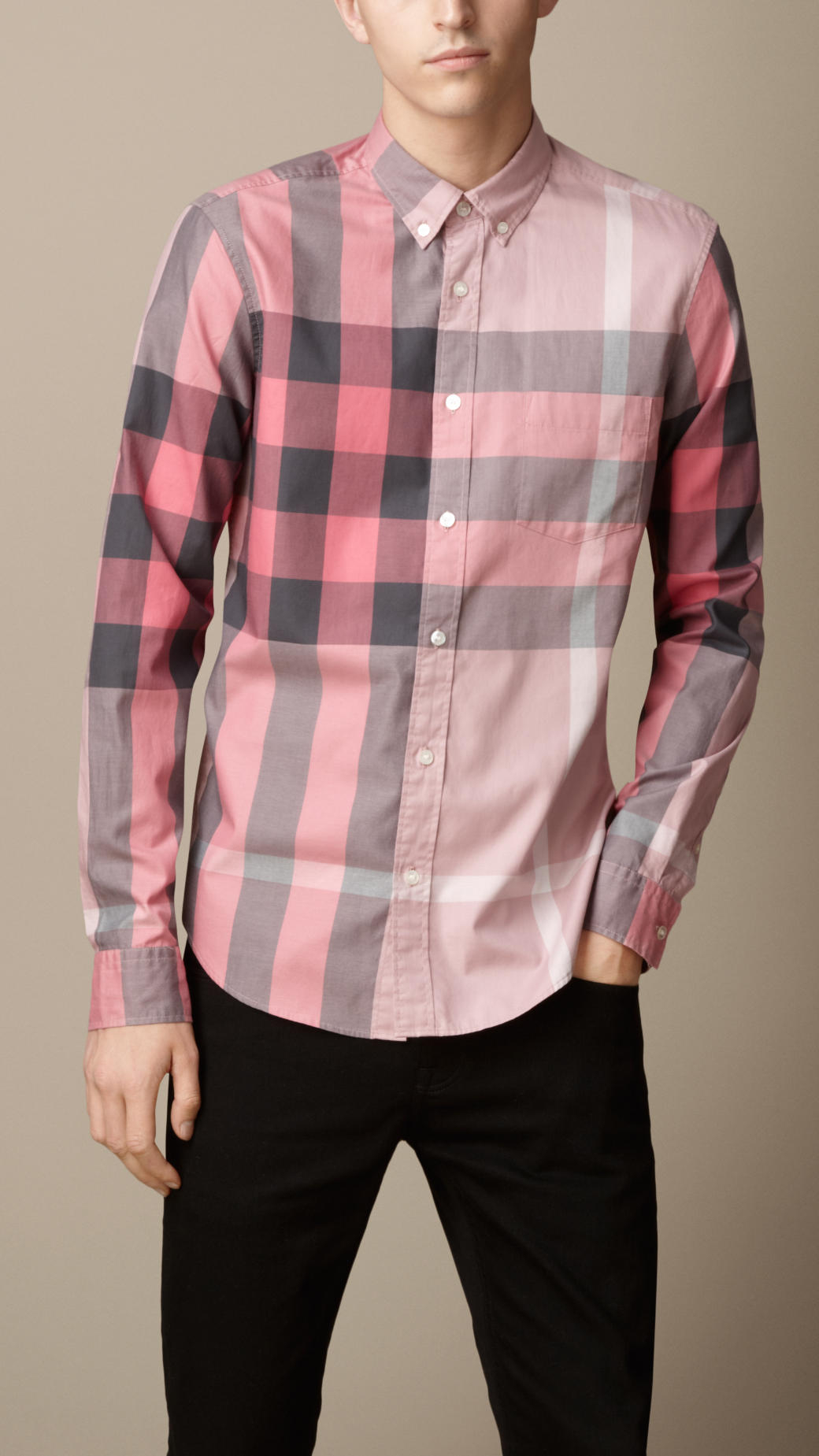 Burberry Giant Exploded Check Cotton Shirt In Pink For Men