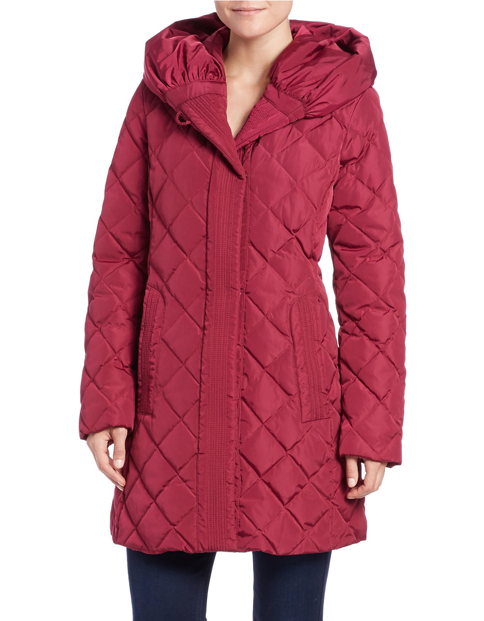 Gallery Down Diamond Quilted Puffer Coat In Red Lyst