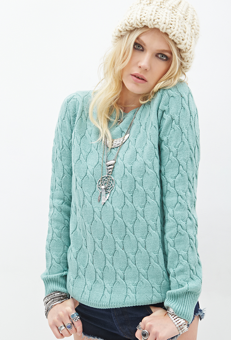 Forever 21 Cable Knit Sweater in Blue | Lyst