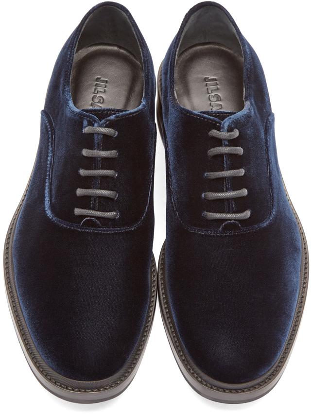 Lyst - Jil Sander Navy Velvet Oxfords In Blue