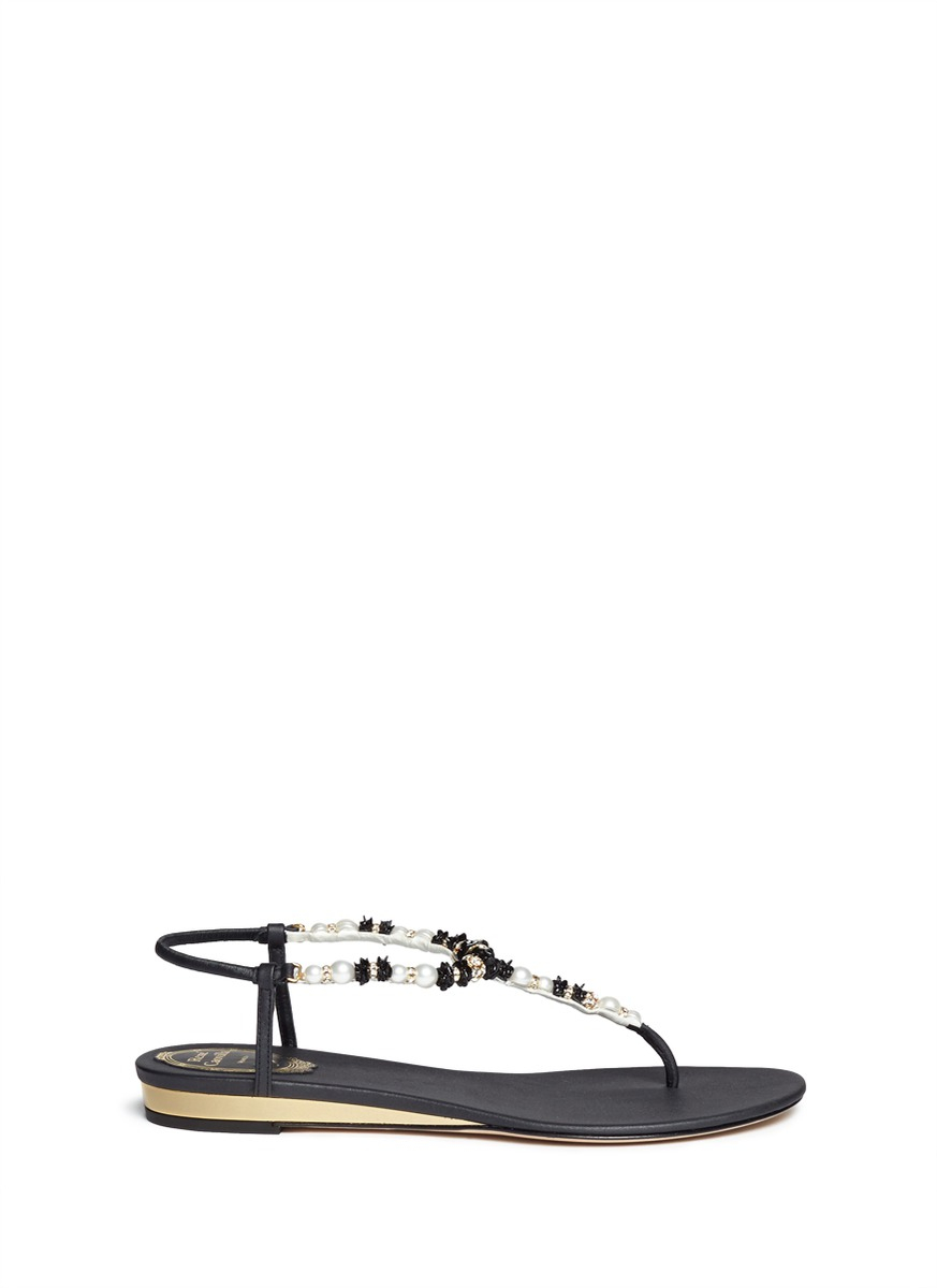 0aa04f5e10e Lyst - Rene Caovilla Floral Bead Pearl T-strap Flat Sandals