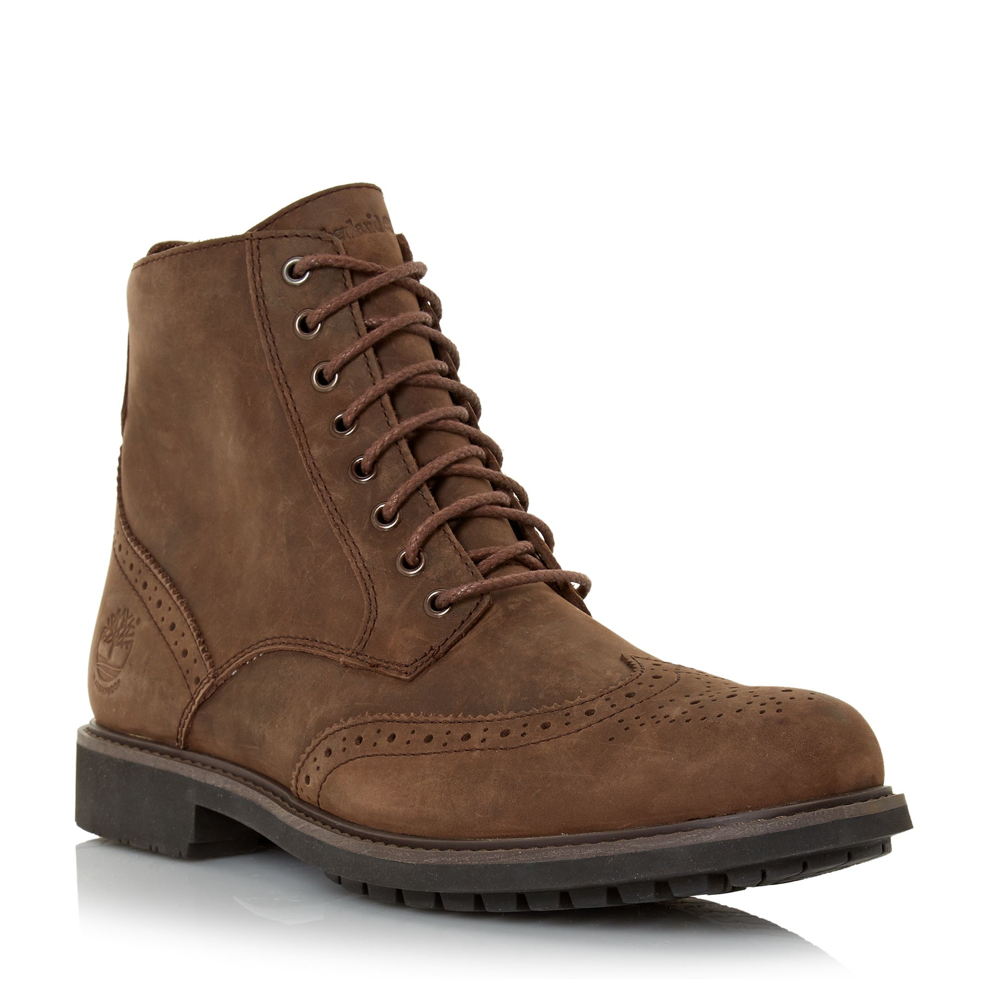 timberland nubuck lace up brogue boots in brown for lyst
