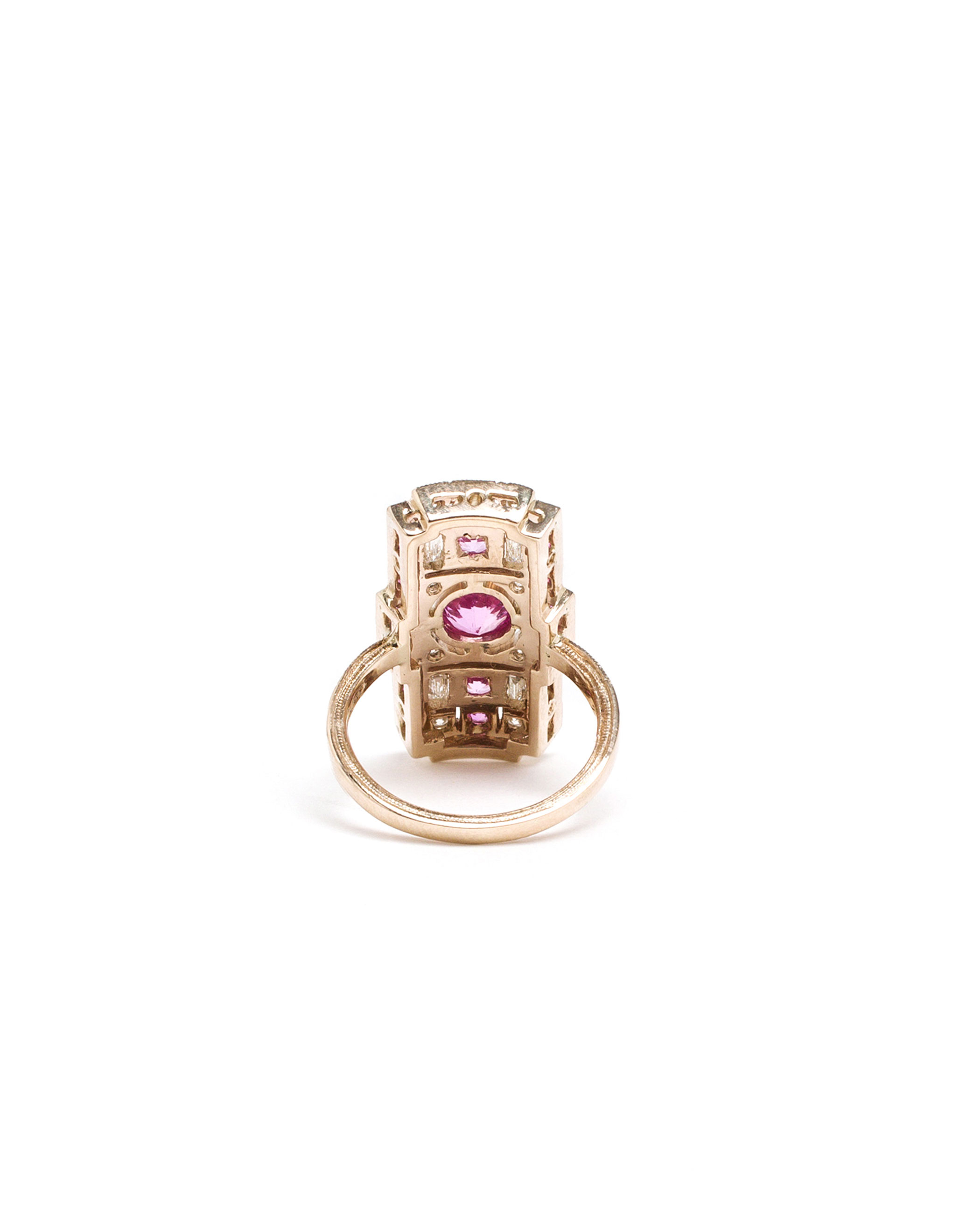 Sabine G 18k White Gold And Diamond Rectangle Ring in Pink