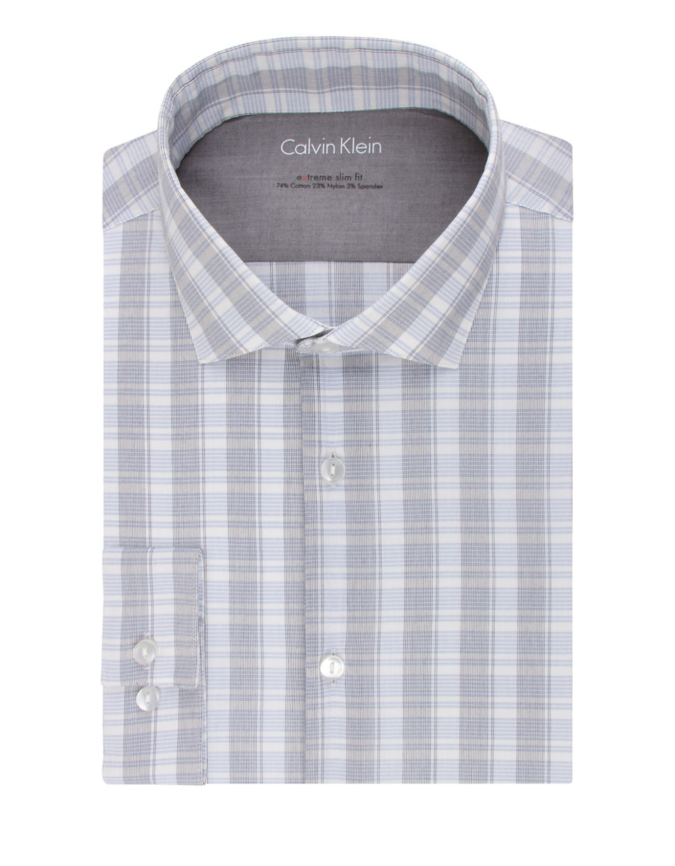 Calvin klein extreme slim fit plaid check dress shirt in for Calvin klein athletic fit dress shirt