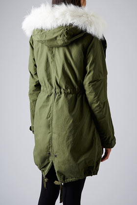 Topshop Borg Lined Parka Jacket in Green | Lyst