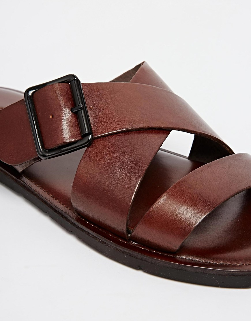 Lyst - ALDO Sangha Leather Buckle Sandals in Brown for Men