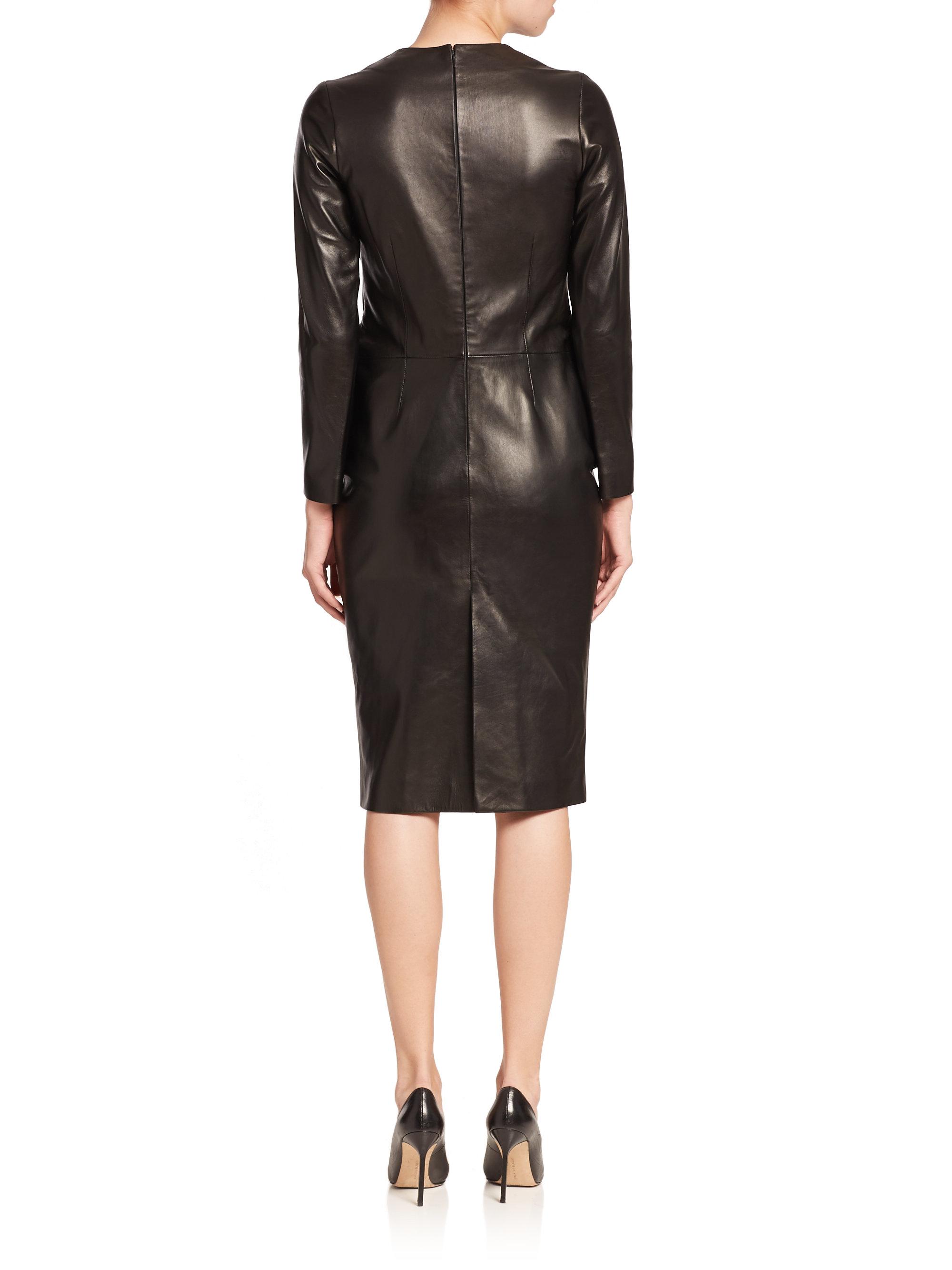 983c93e6a3 La Prestic Ouiston Parfaite Long-sleeve Leather Dress in Black - Lyst
