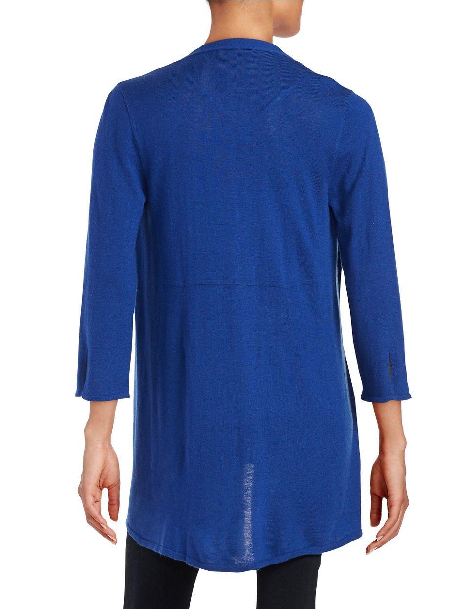 Anne klein Chiffon Open-front Cardigan in Blue | Lyst