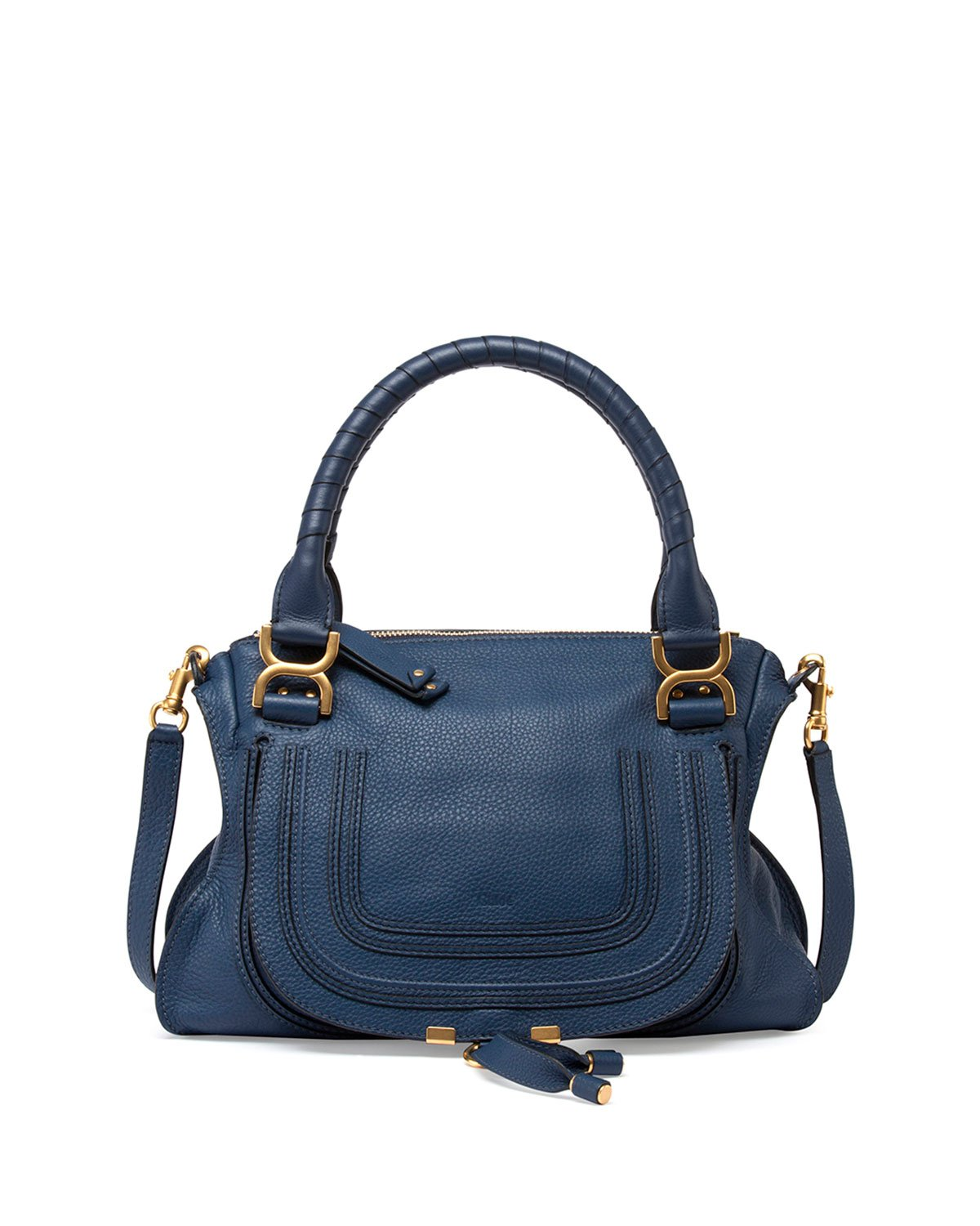 chlo marcie medium leather satchel in blue lyst. Black Bedroom Furniture Sets. Home Design Ideas