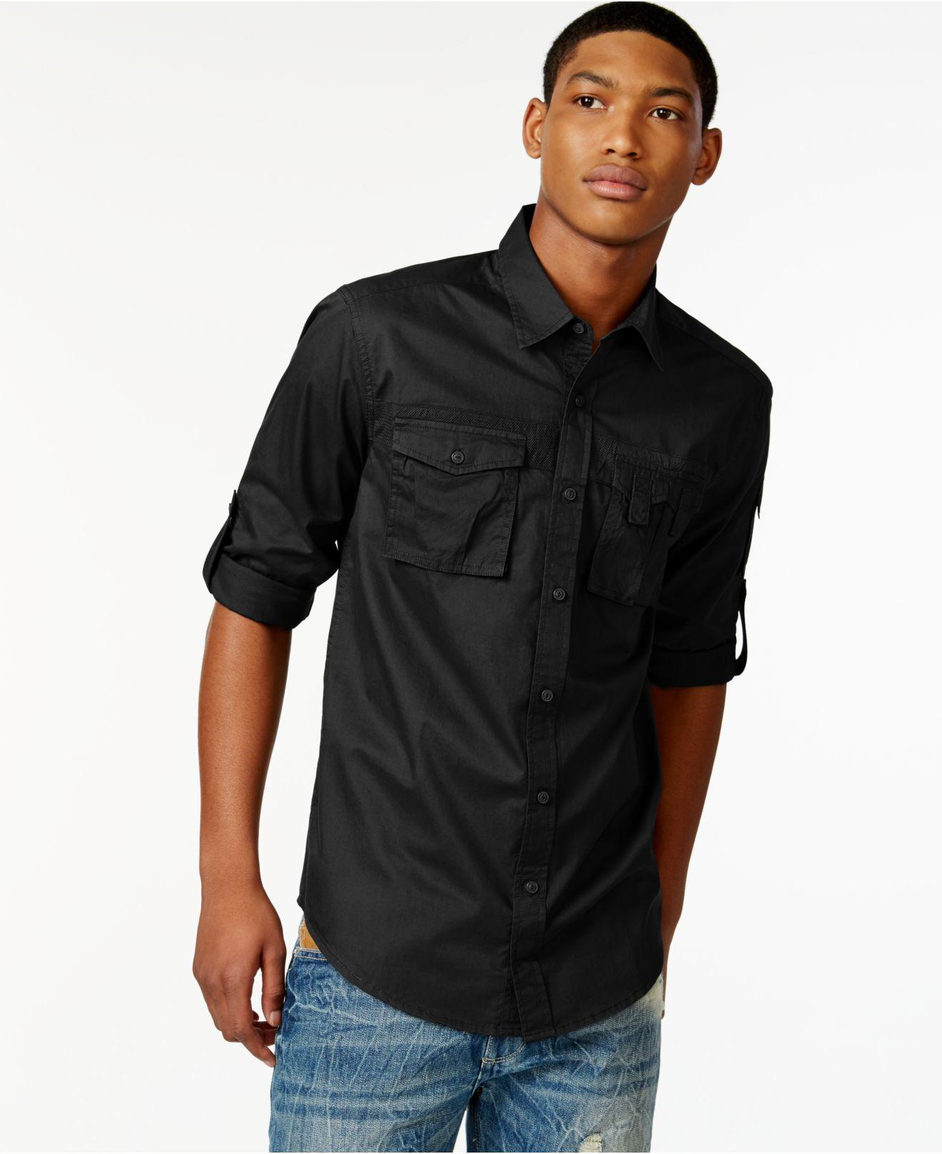 Sean john Men's Flight Poplin Shirt in Black for Men | Lyst