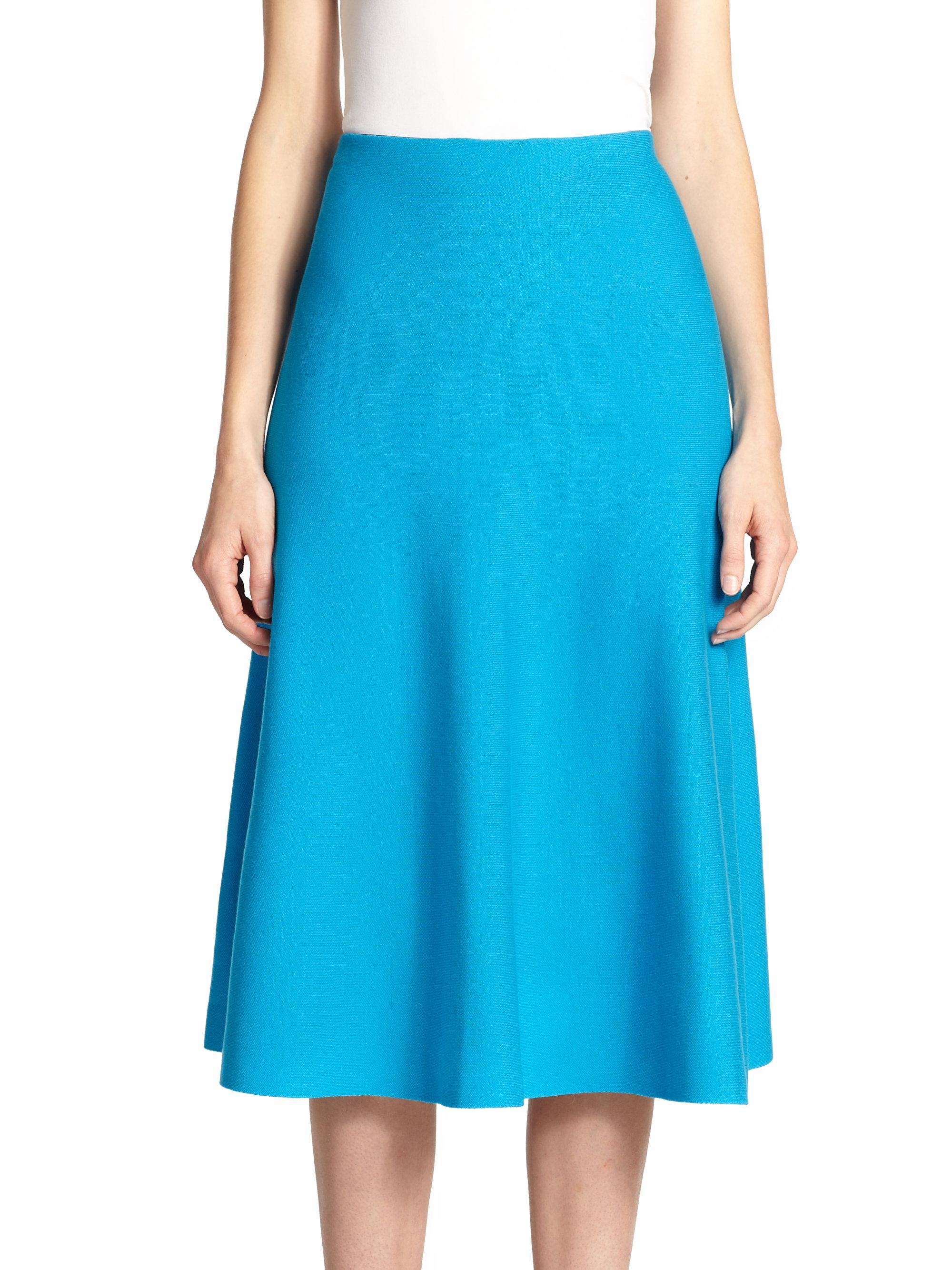rvn knit circular midi skirt in blue lyst