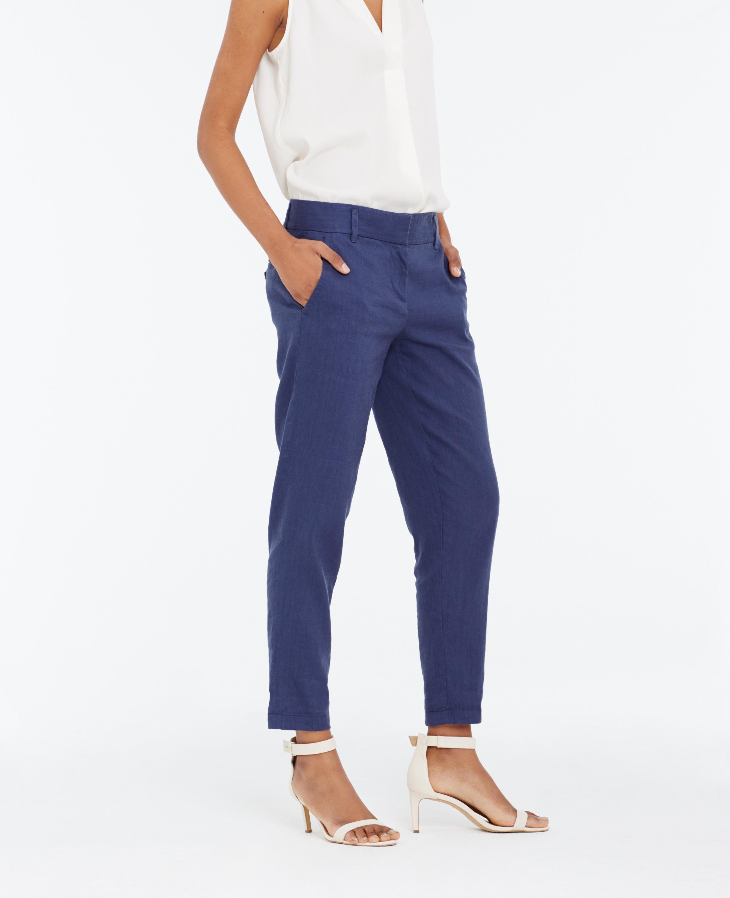Ann taylor linen beach ankle pants in blue lyst for Ann taylor loft fashion island