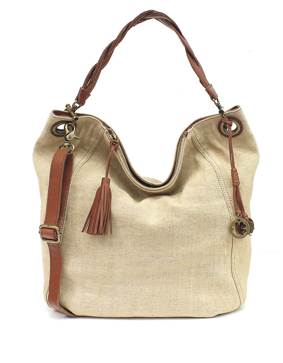 Lucky brand Ashmore Small Canvas Hobo Bag in Brown | Lyst