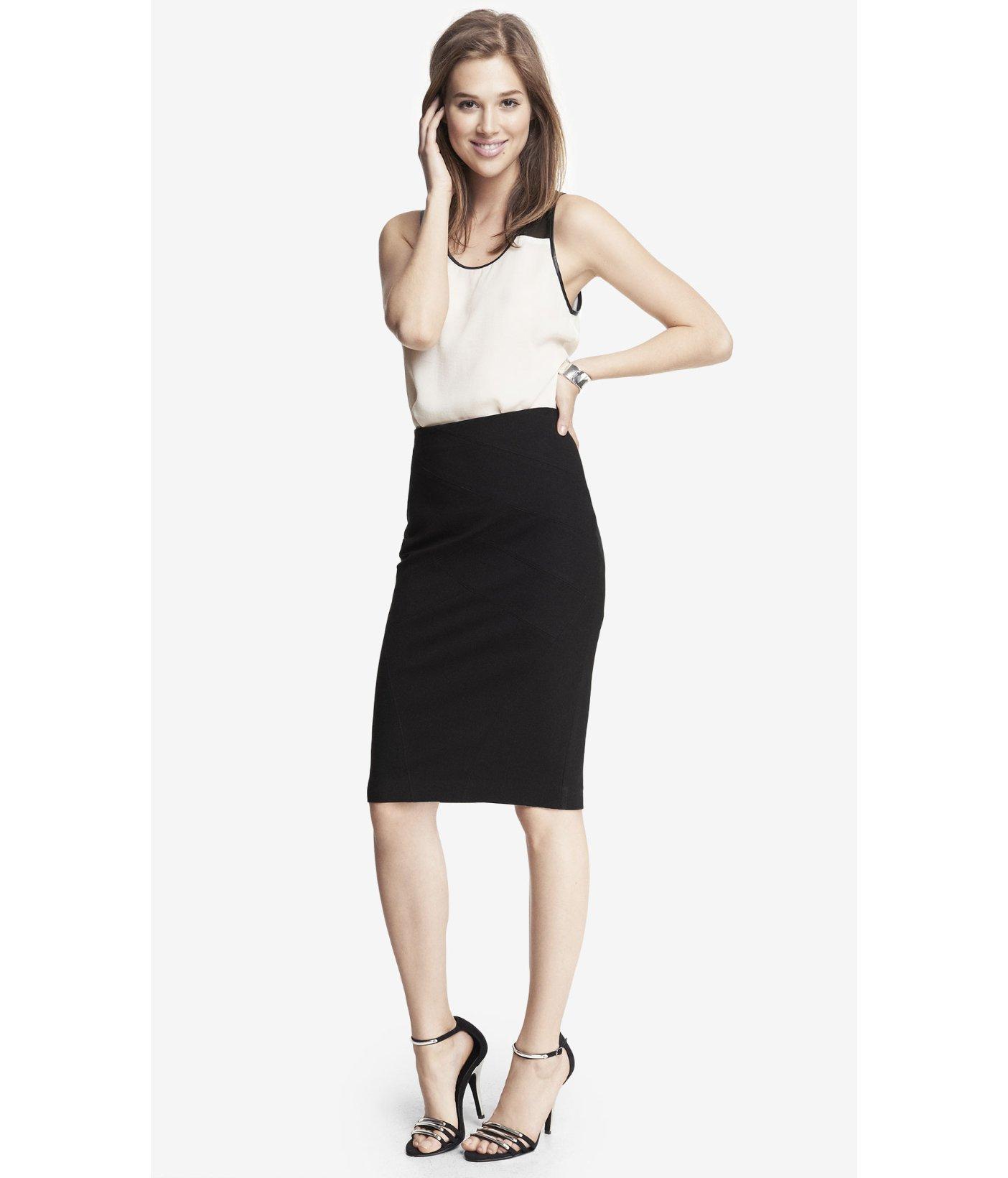 Express High Waist Ponte Knit Bandage Midi Skirt in Black   Lyst