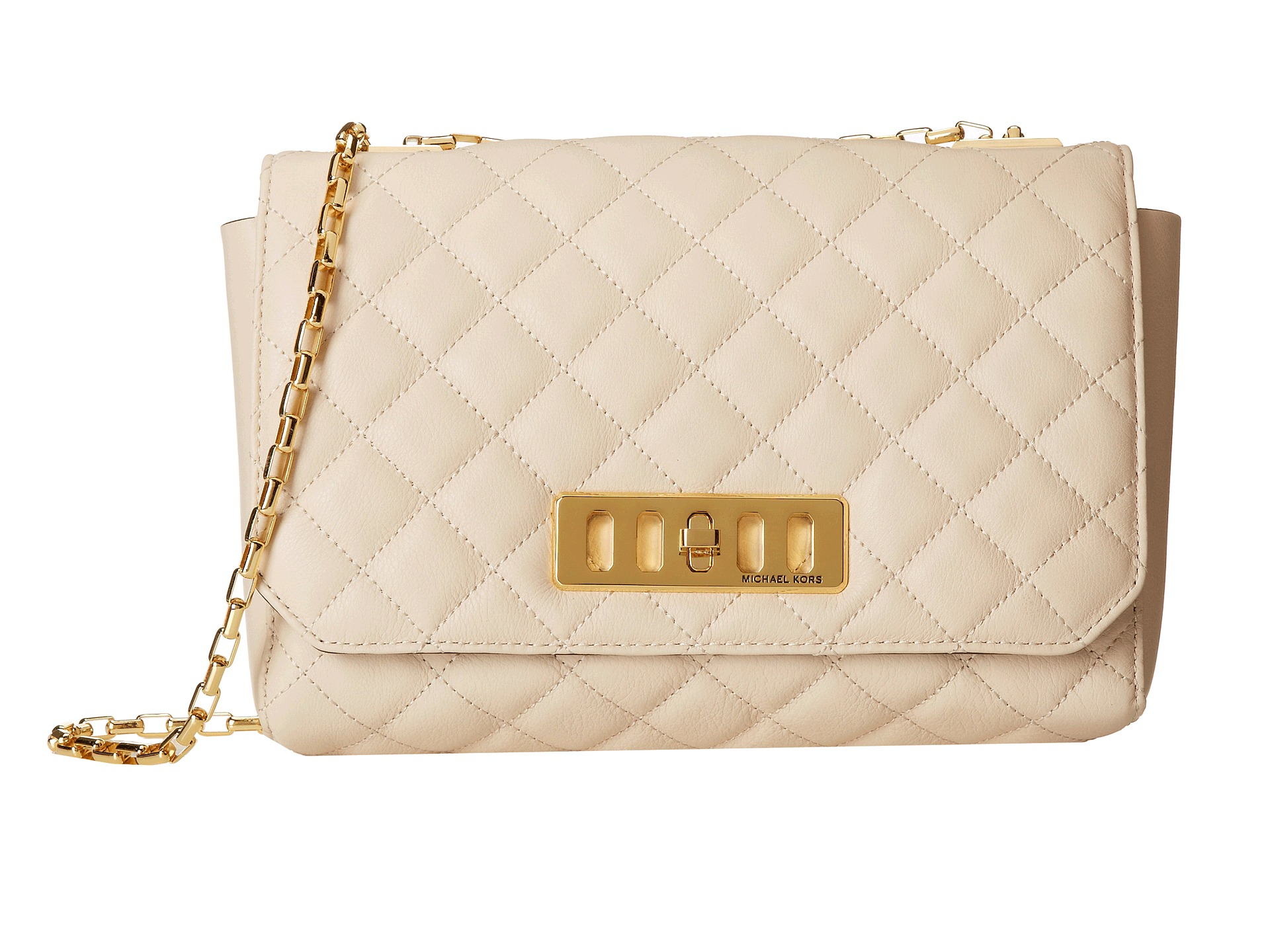 3f53a52b923b Michael Kors Vivian Quilted Shoulder Flap in White - Lyst