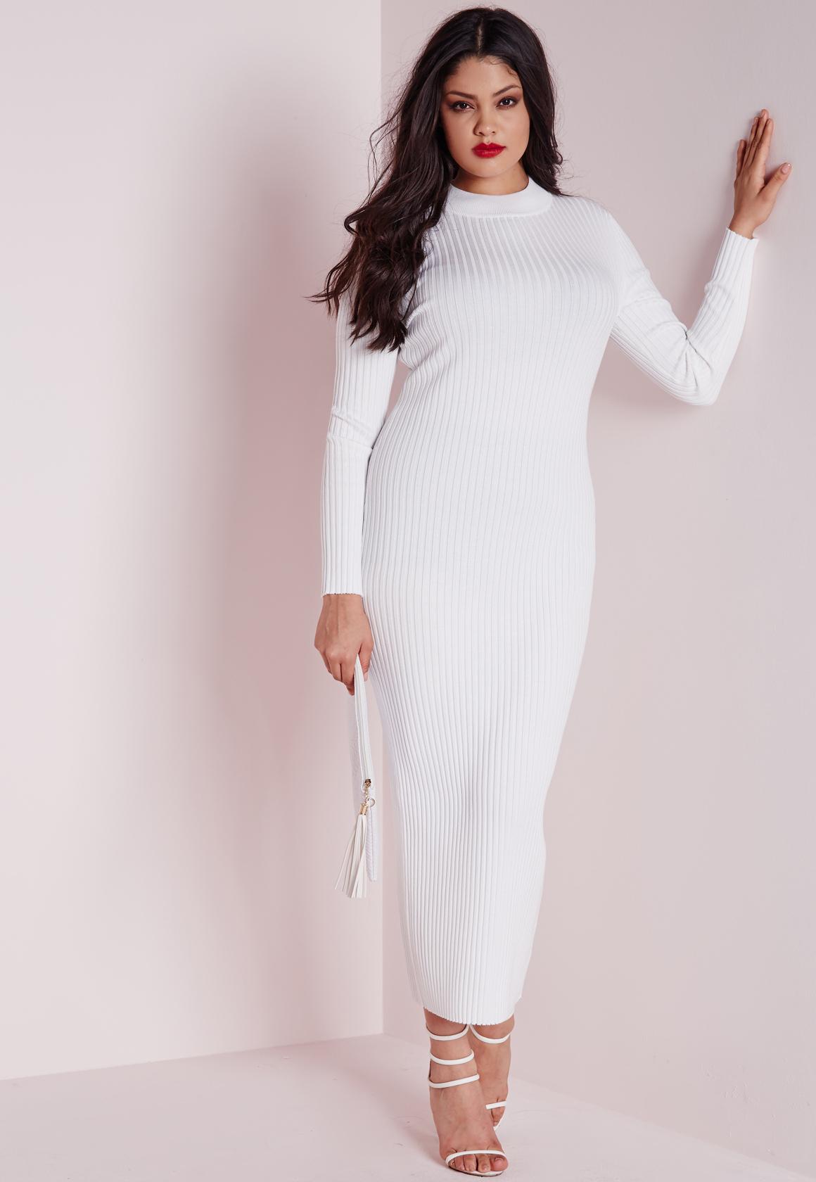 Plus Size Maxi Knitted Rib Dress White