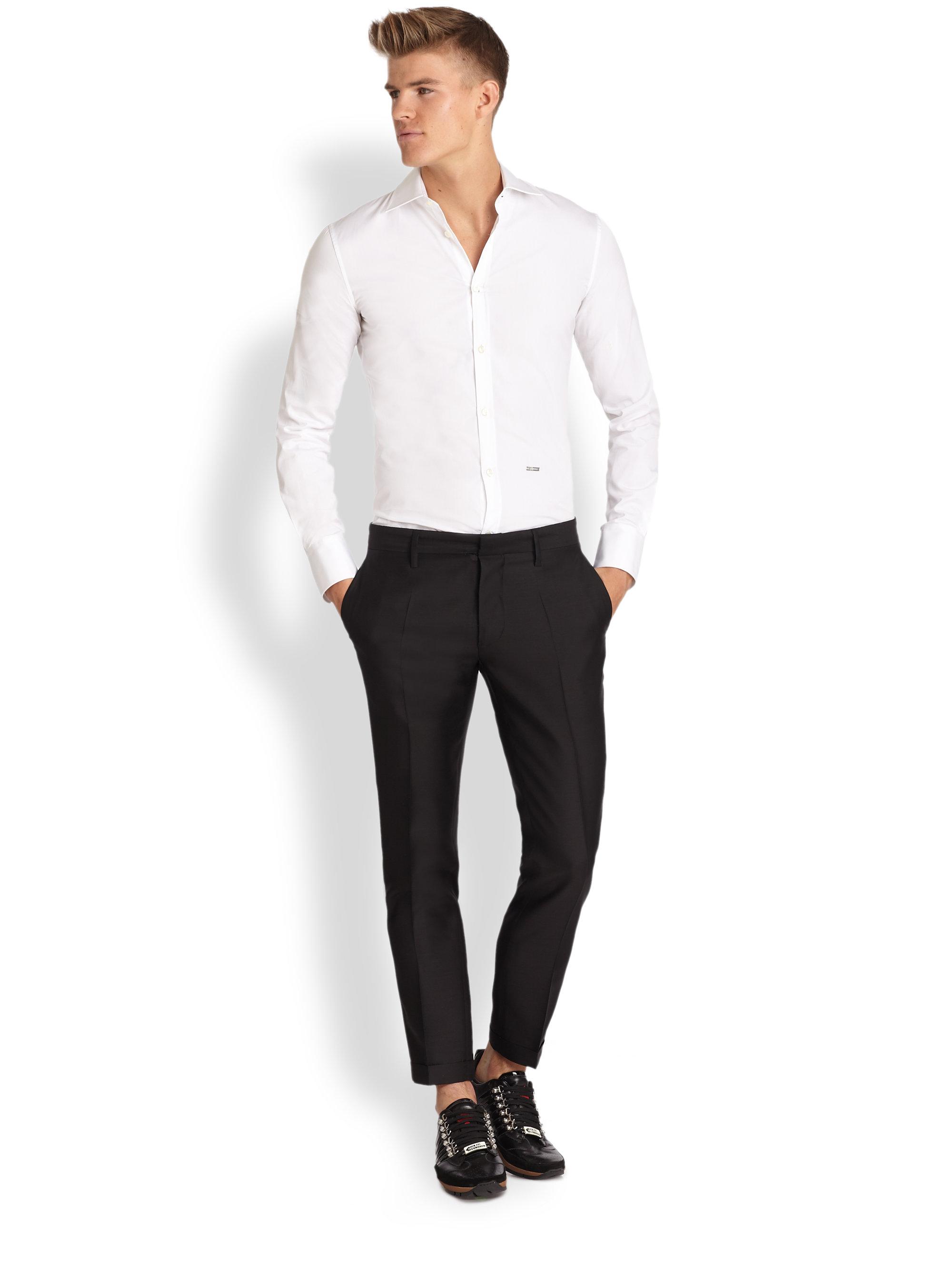 Lyst Dsquared 178 Wool Silk Tuxedo Pants In Black For Men