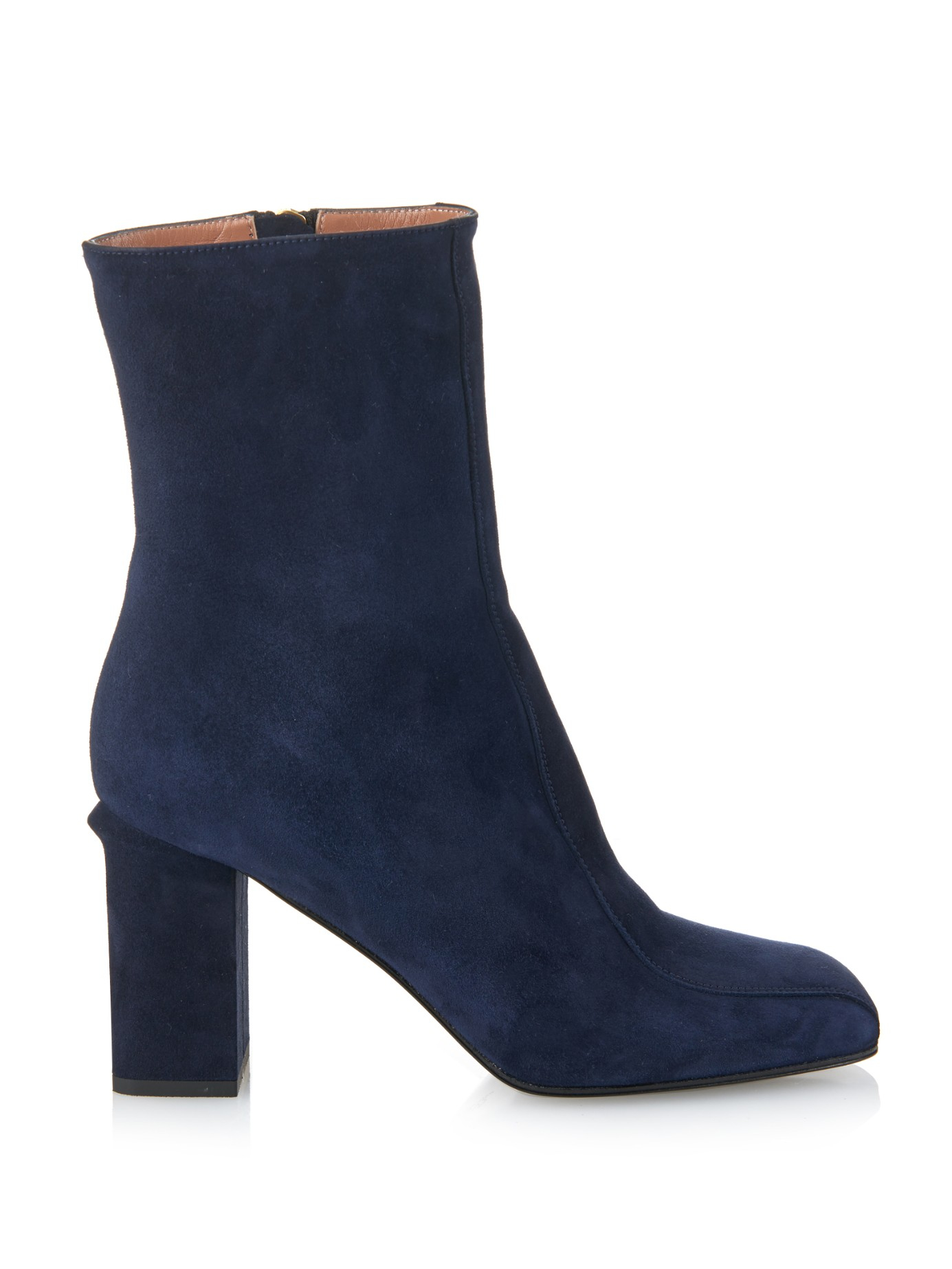Lyst Marni Square Toe Suede Ankle Boots In Blue