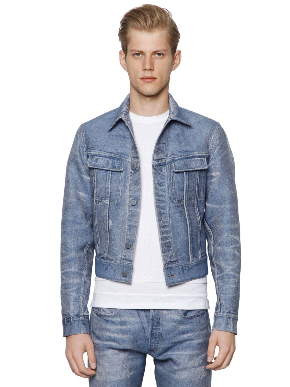 Calvin klein Bonded Denim Effect Jacquard Jacket in Blue for Men | Lyst