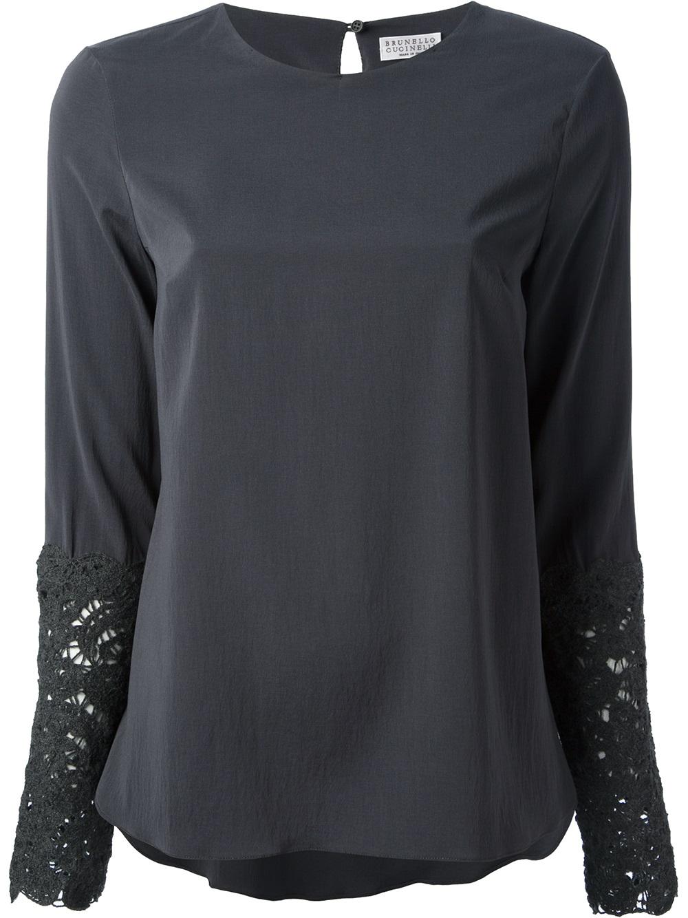 d14ad0f9bd Lyst - Brunello Cucinelli Lace Cuff Blouse in Gray