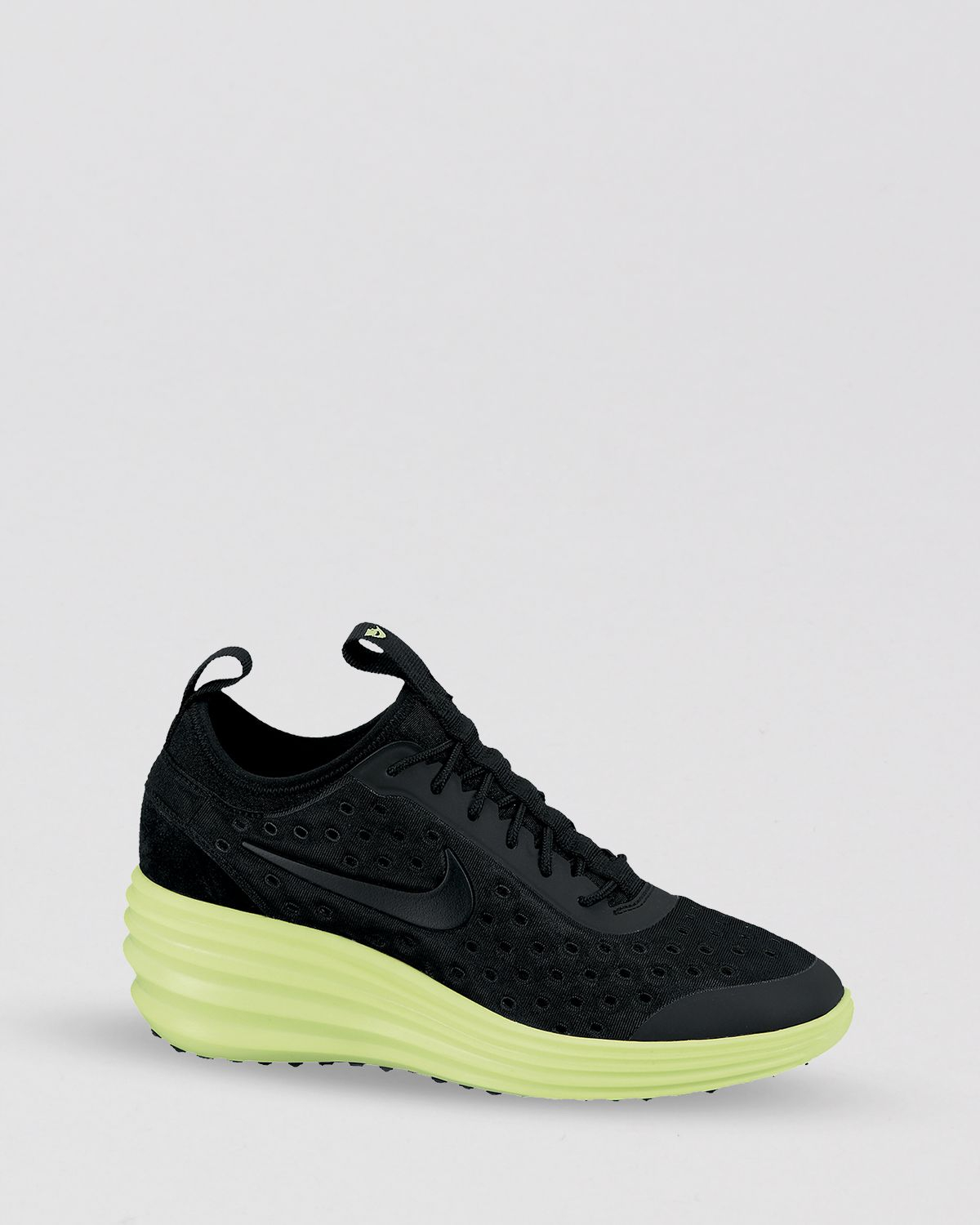 nike lace up sneakers womens lunar elite sky hi in black black black volt lyst. Black Bedroom Furniture Sets. Home Design Ideas