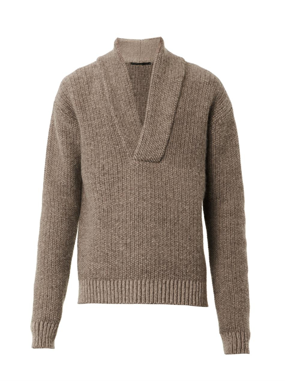 haider ackermann shawl neck knit sweater in brown for men. Black Bedroom Furniture Sets. Home Design Ideas