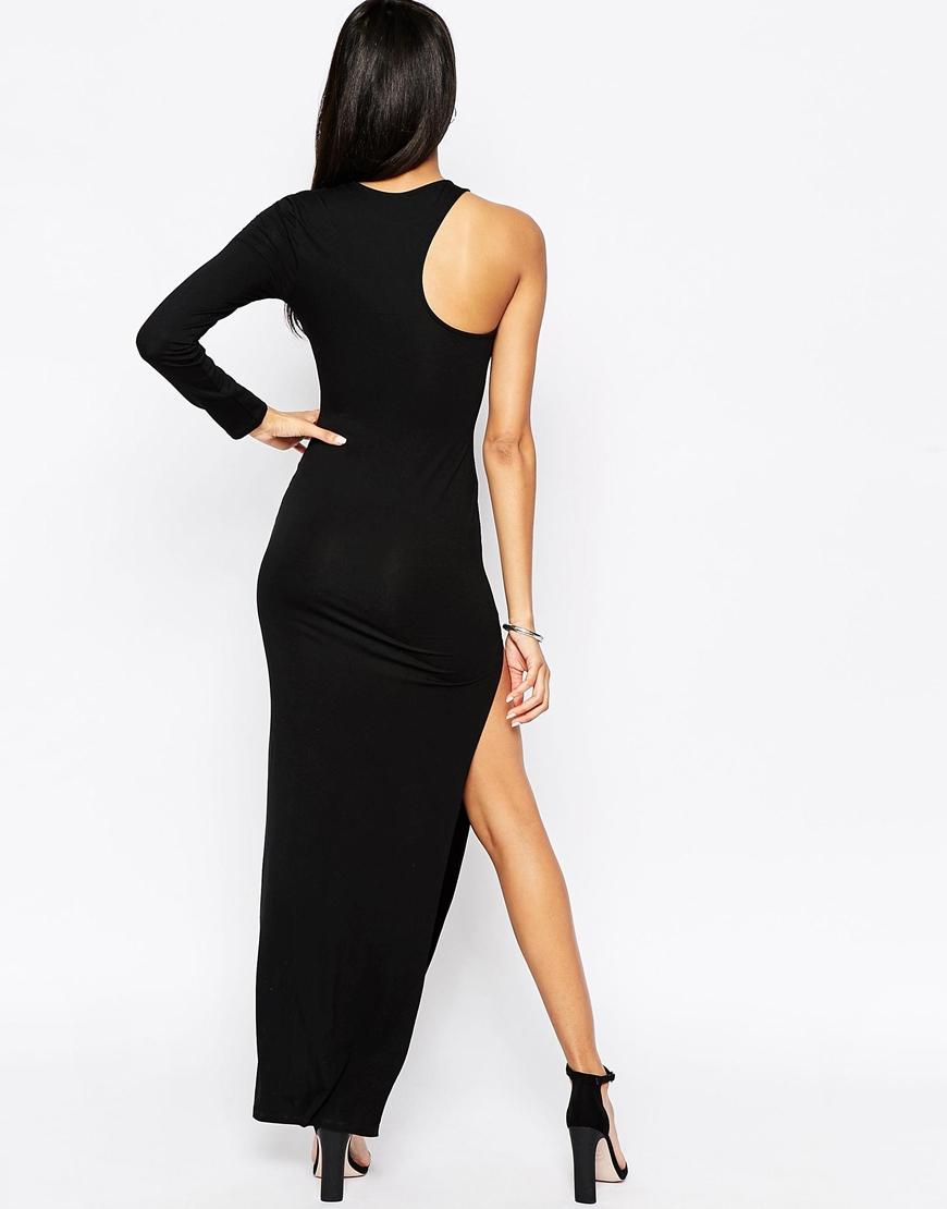 Lyst Asos Long Sleeve One Shoulder Maxi Dress In Black