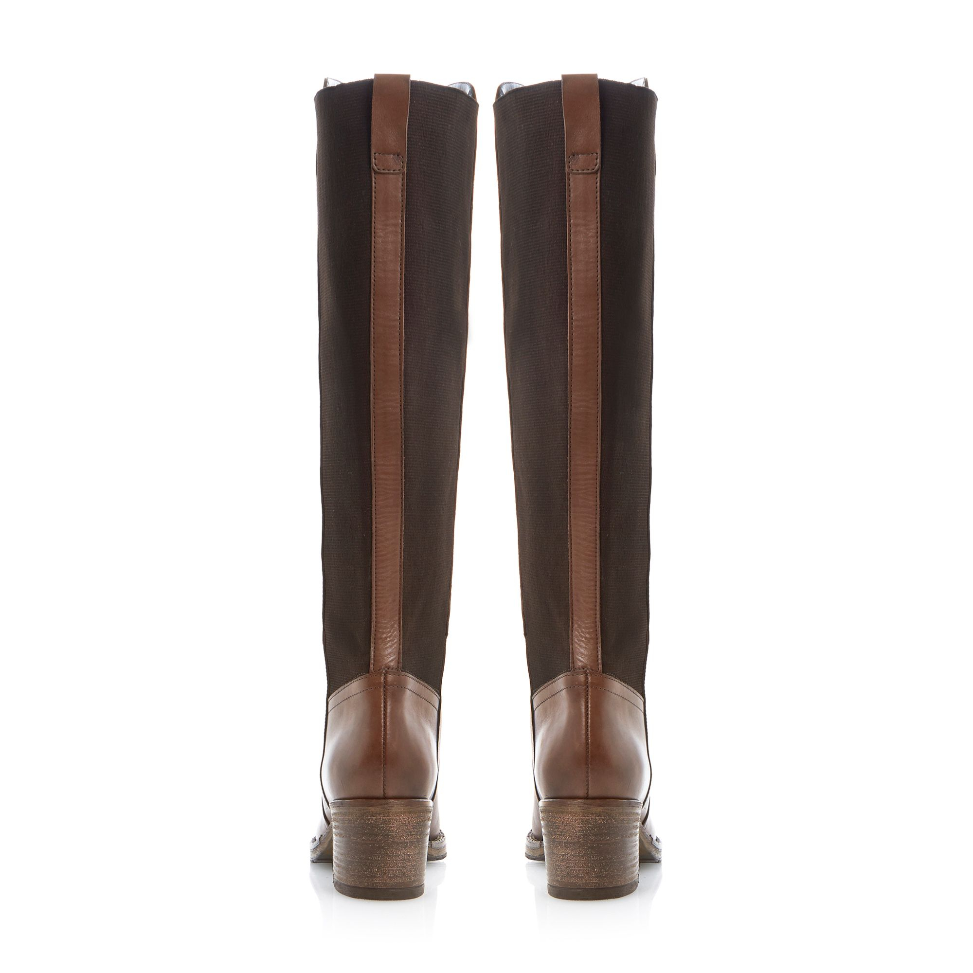 Bertie Tara Stretch Block Knee High Boots in Brown