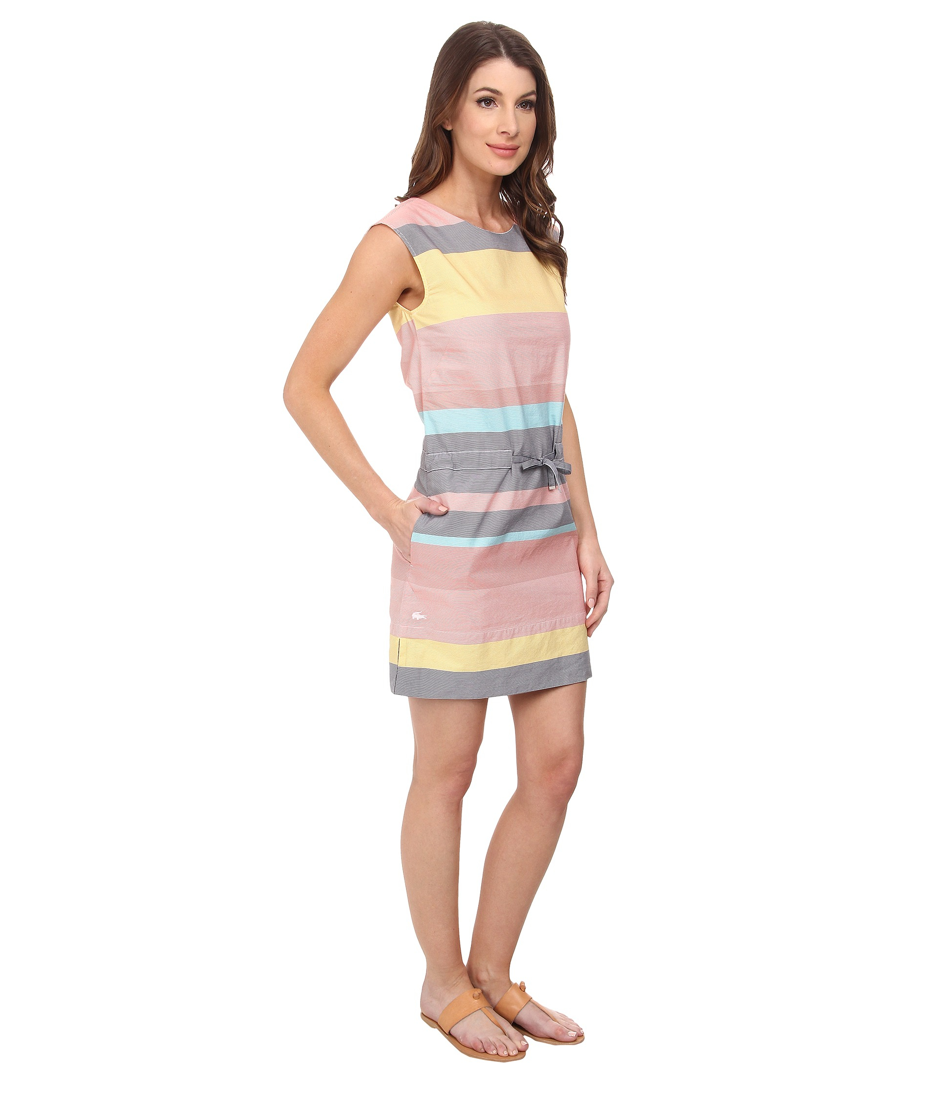 Lacoste Sleeveless Multi-Stripe Shift Dress in Pink