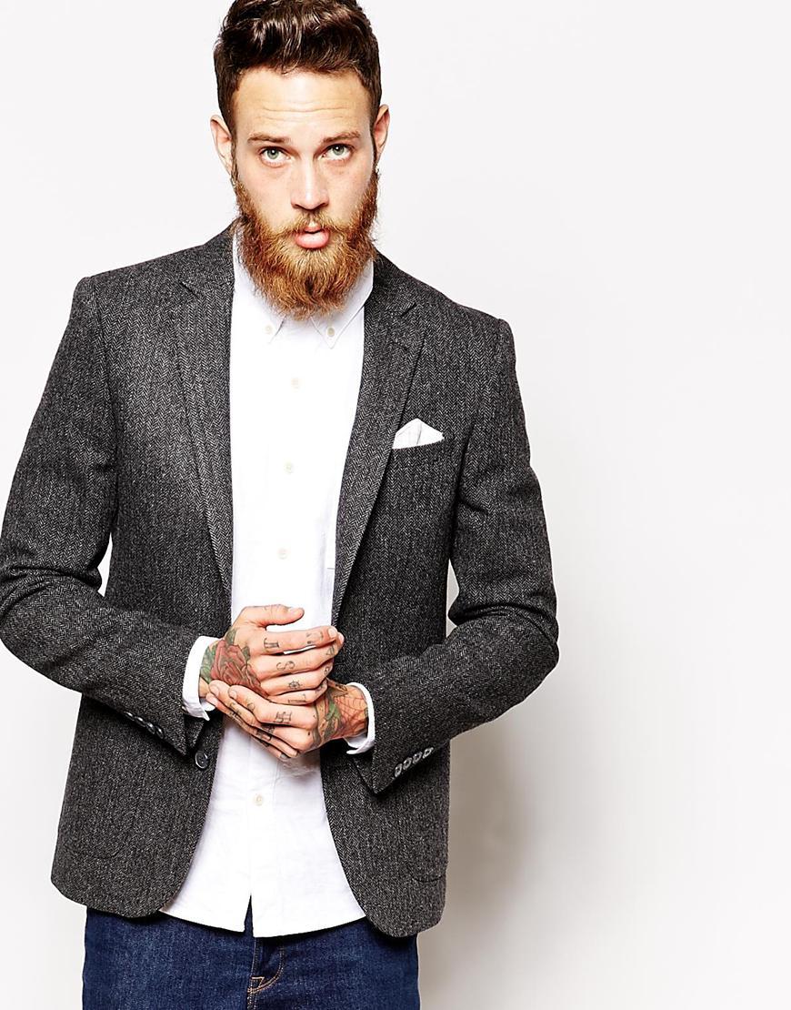 asos slim fit blazer in 100 wool in gray for men lyst. Black Bedroom Furniture Sets. Home Design Ideas