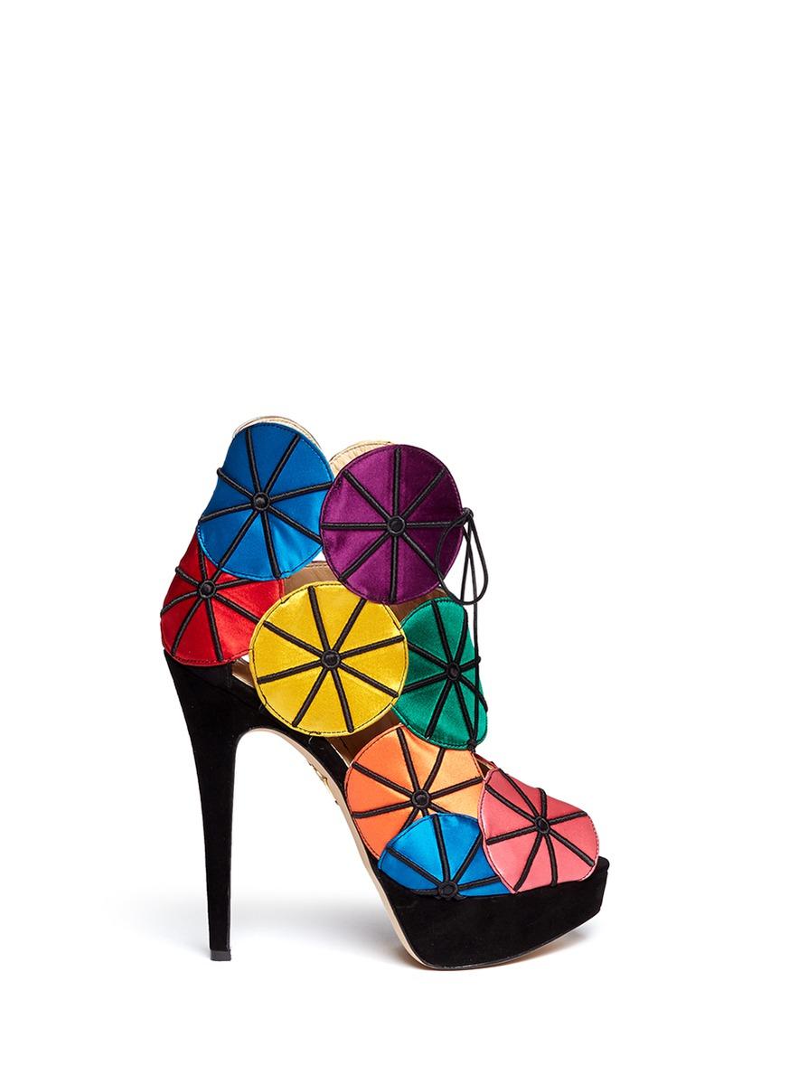 714d8c6ce45d Lyst - Charlotte Olympia  parasol  Satin Appliqué Sandals