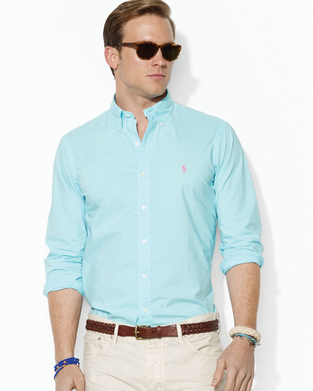 d3c5766f1 Ralph Lauren Polo Poplin Sport Shirt Custom Fit in Blue for Men - Lyst