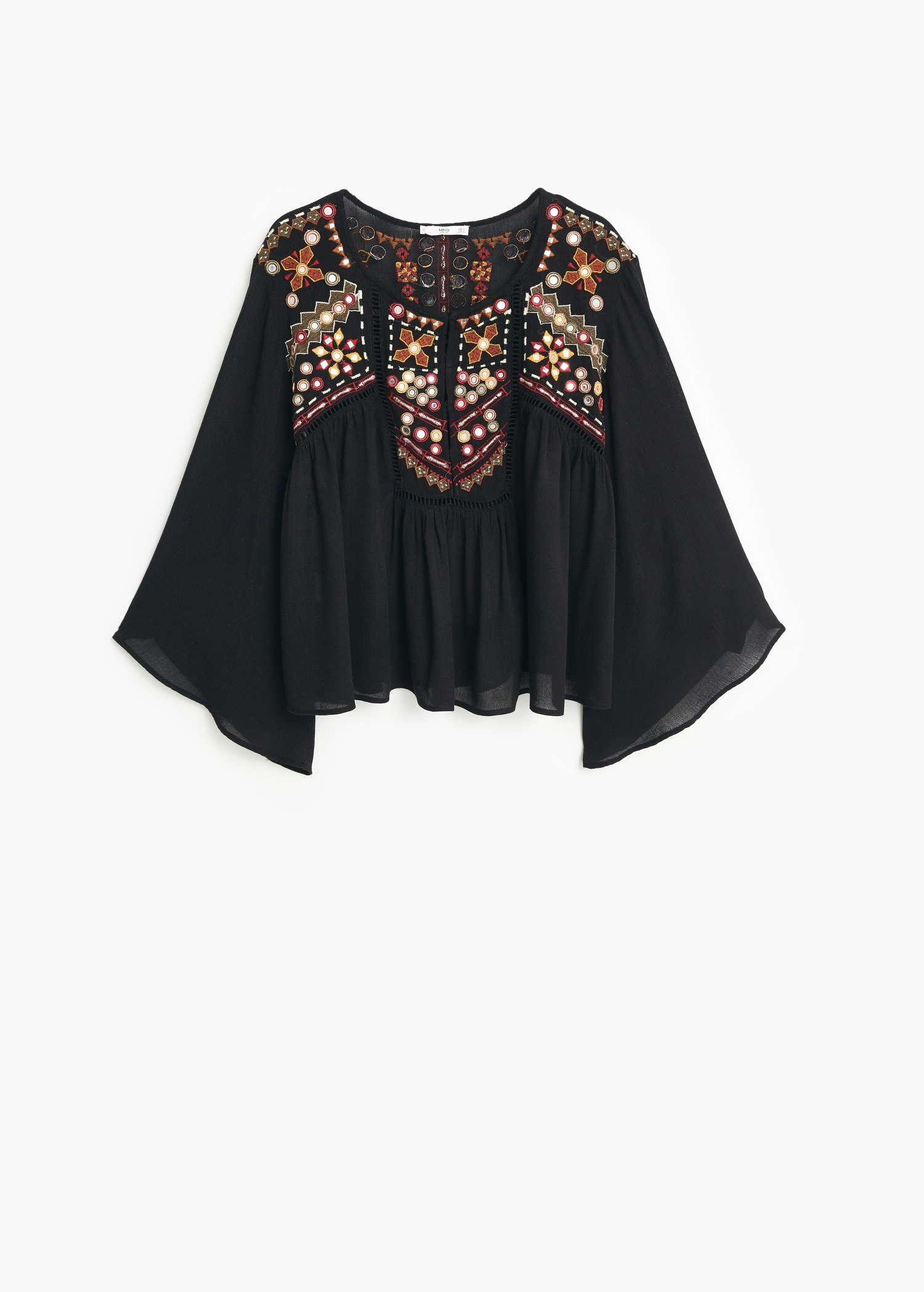 e7d180b3bd7f7a Lyst - Mango Embroidered Boho Blouse in Black