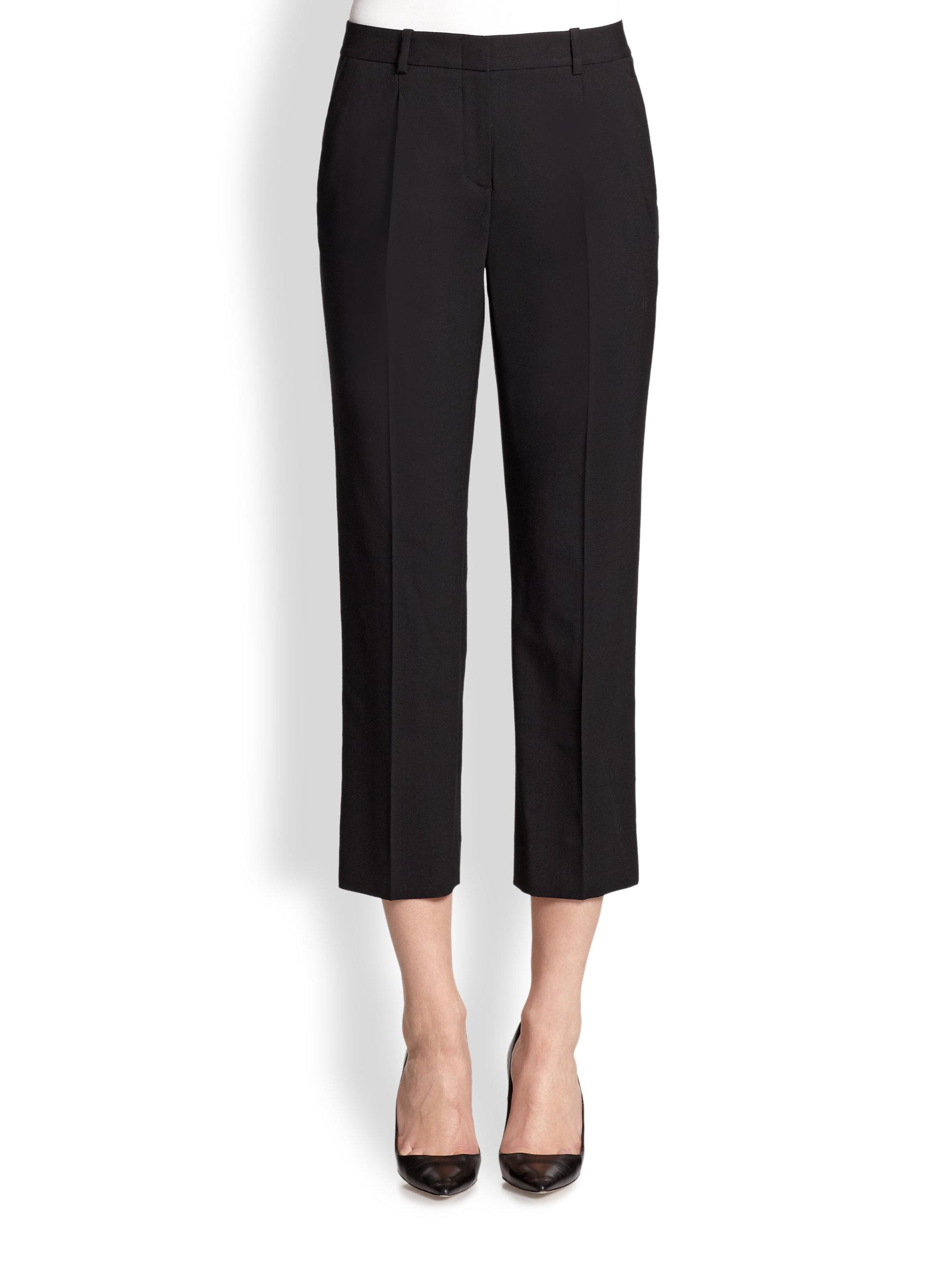 Theory Jorah Cropped Stretch Wool Pants In Black Lyst